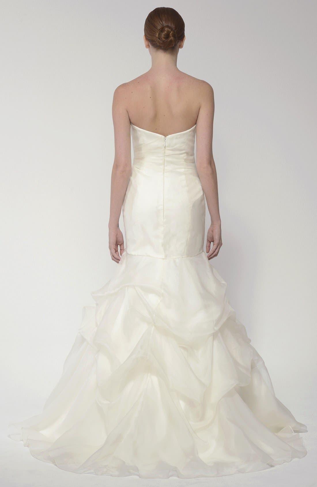 Alternate Image 5  - BLISS Monique Lhuillier Strapless Silk Organza Mermaid Wedding Dress