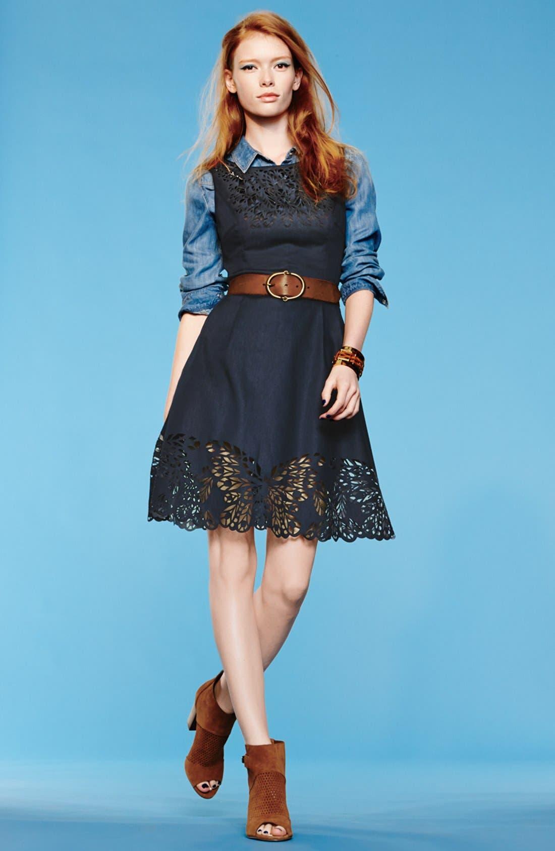 Alternate Image 4  - Betsey Johnson Laser Cut Denim Fit & Flare Dress
