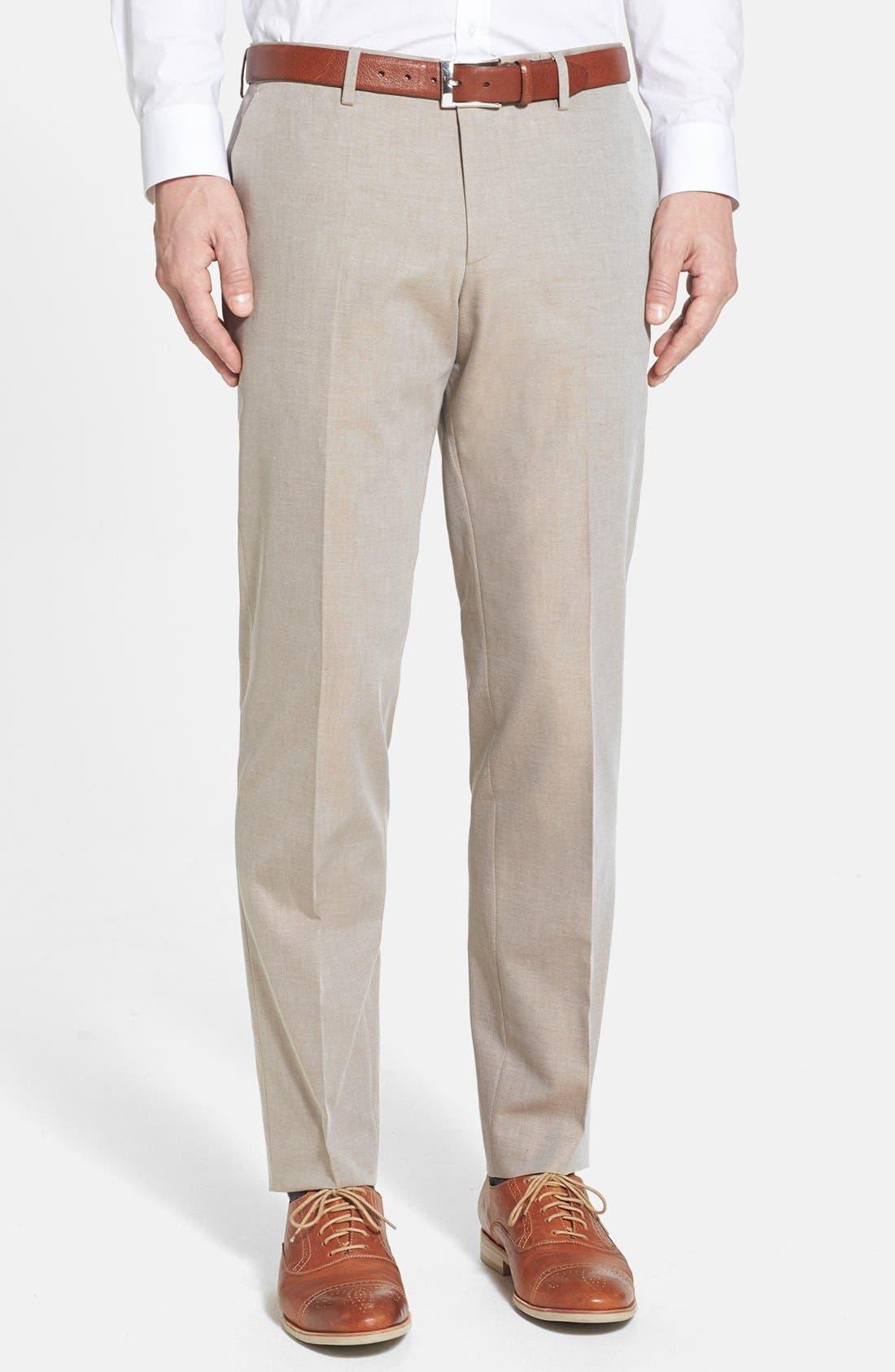 Main Image - BOSS HUGO BOSS 'Genesis' Flat Front Cotton Trousers