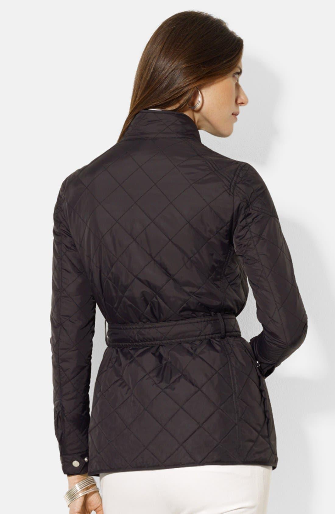 Alternate Image 2  - Lauren Ralph Lauren Four-Pocket Belted Quilted Jacket (Regular & Petite)