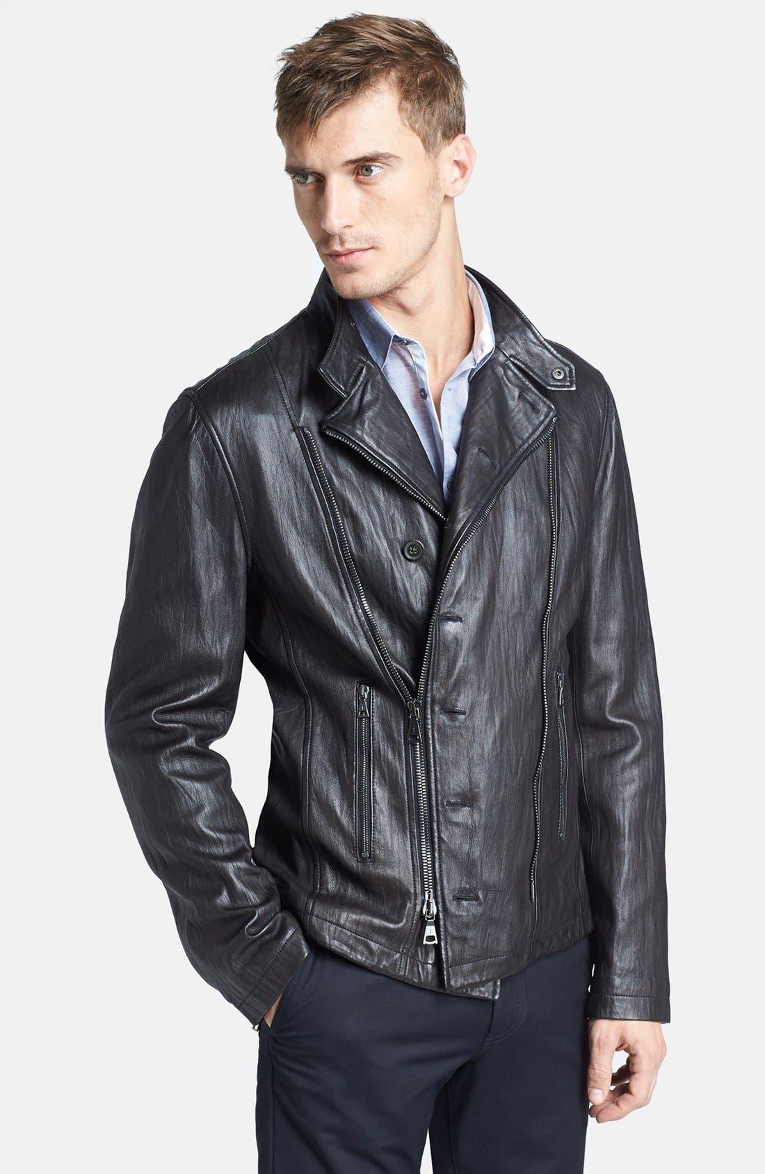 Alternate Image 1 Selected - John Varvatos Collection 'Nappa' Leather Biker Jacket