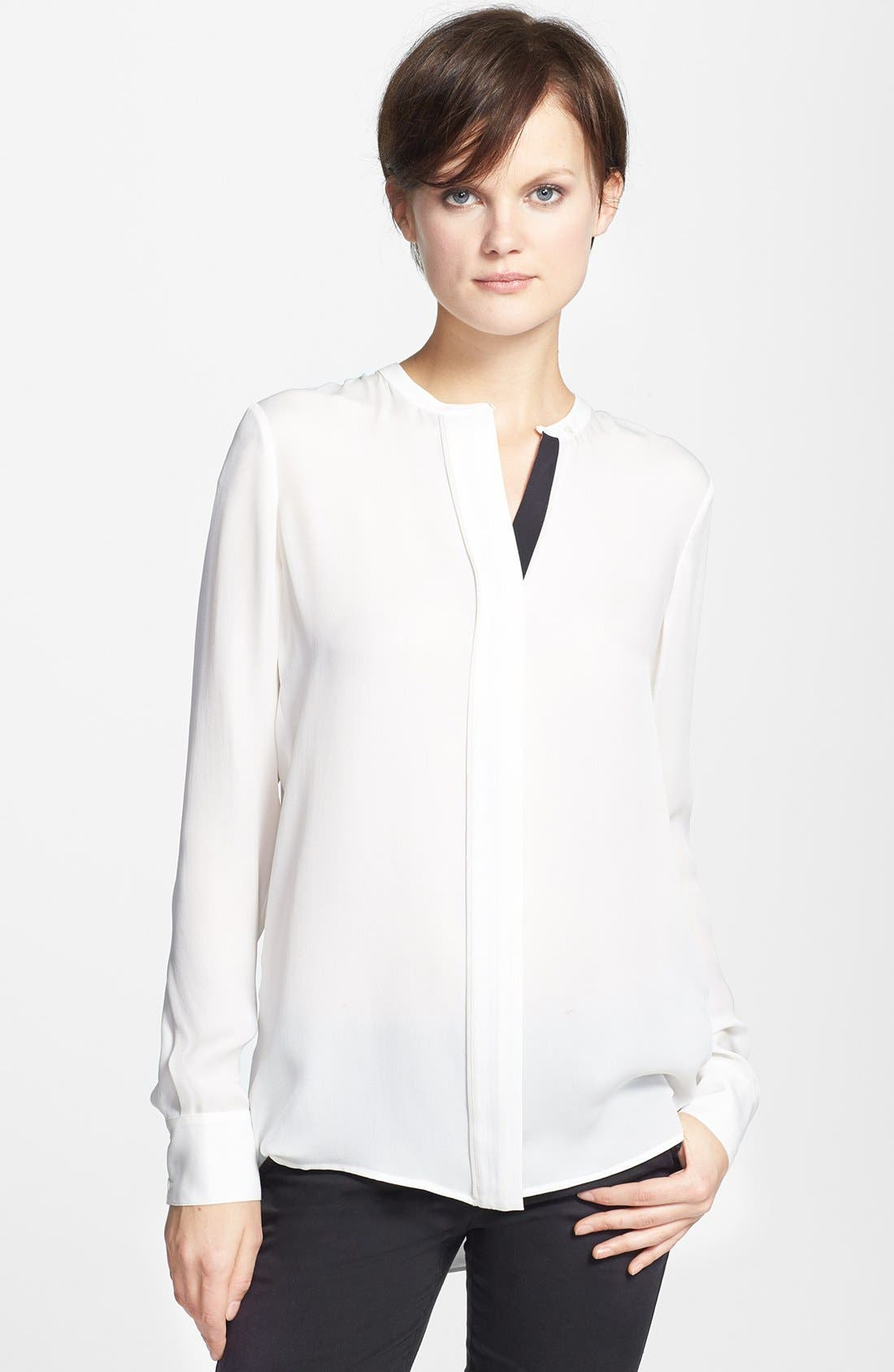 Alternate Image 1 Selected - Vince Color Tipped Long Sleeve Blouse