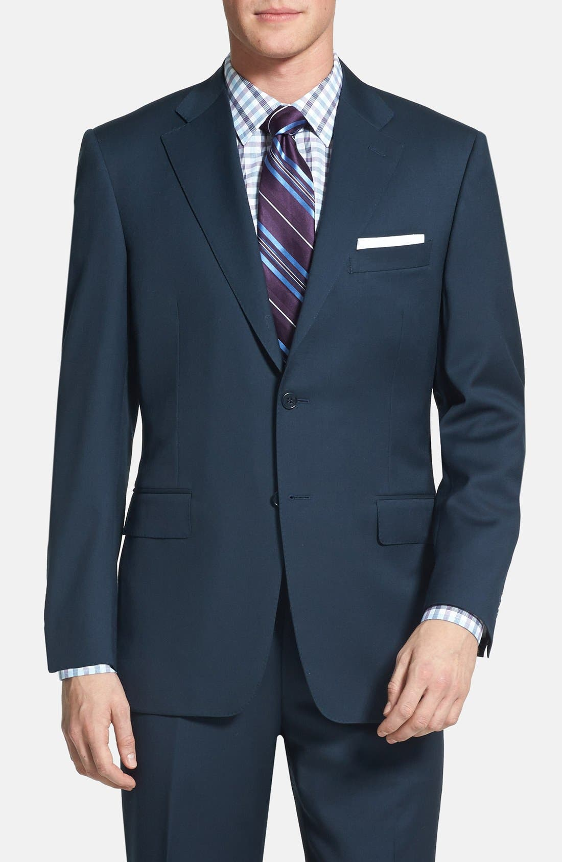 Classic Fit Solid Wool Suit,                             Main thumbnail 1, color,                             Navy