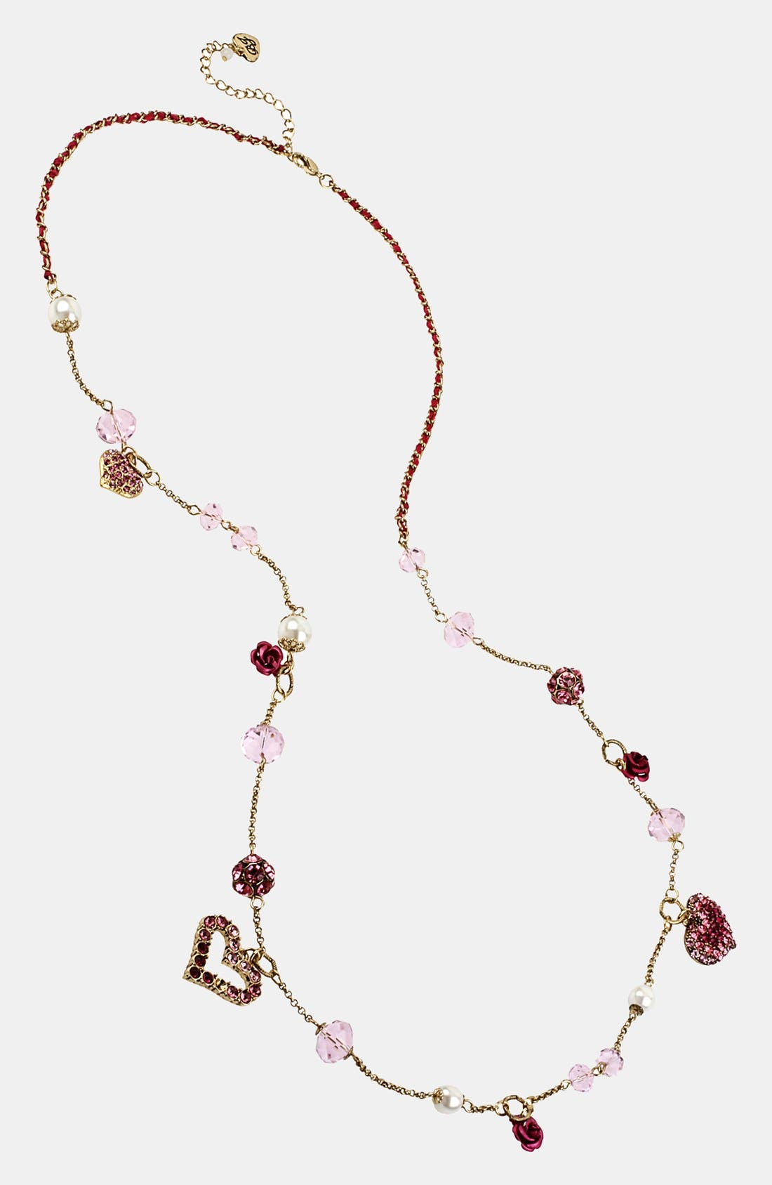 Alternate Image 1 Selected - Betsey Johnson 'Vintage Bow' Long Heart Pendant Necklace