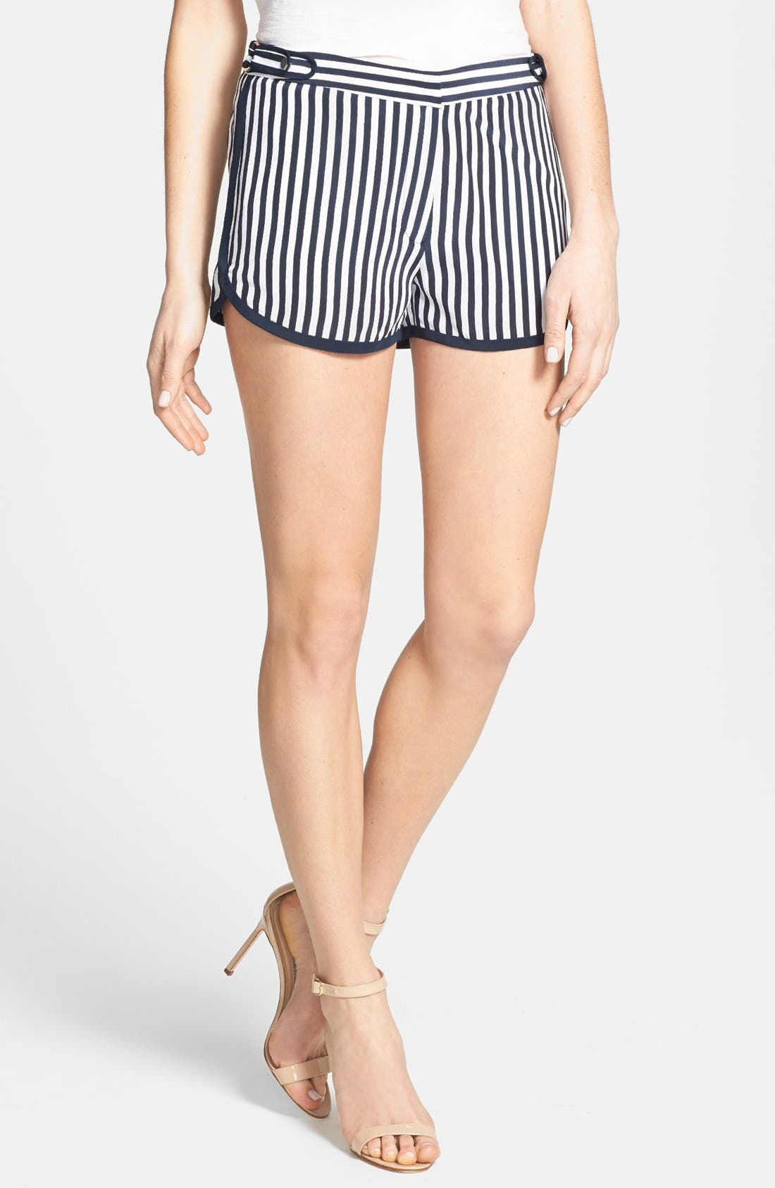 'Tiffany' Stripe Silk Shorts,                         Main,                         color, January Stripe Admiral N/Navy