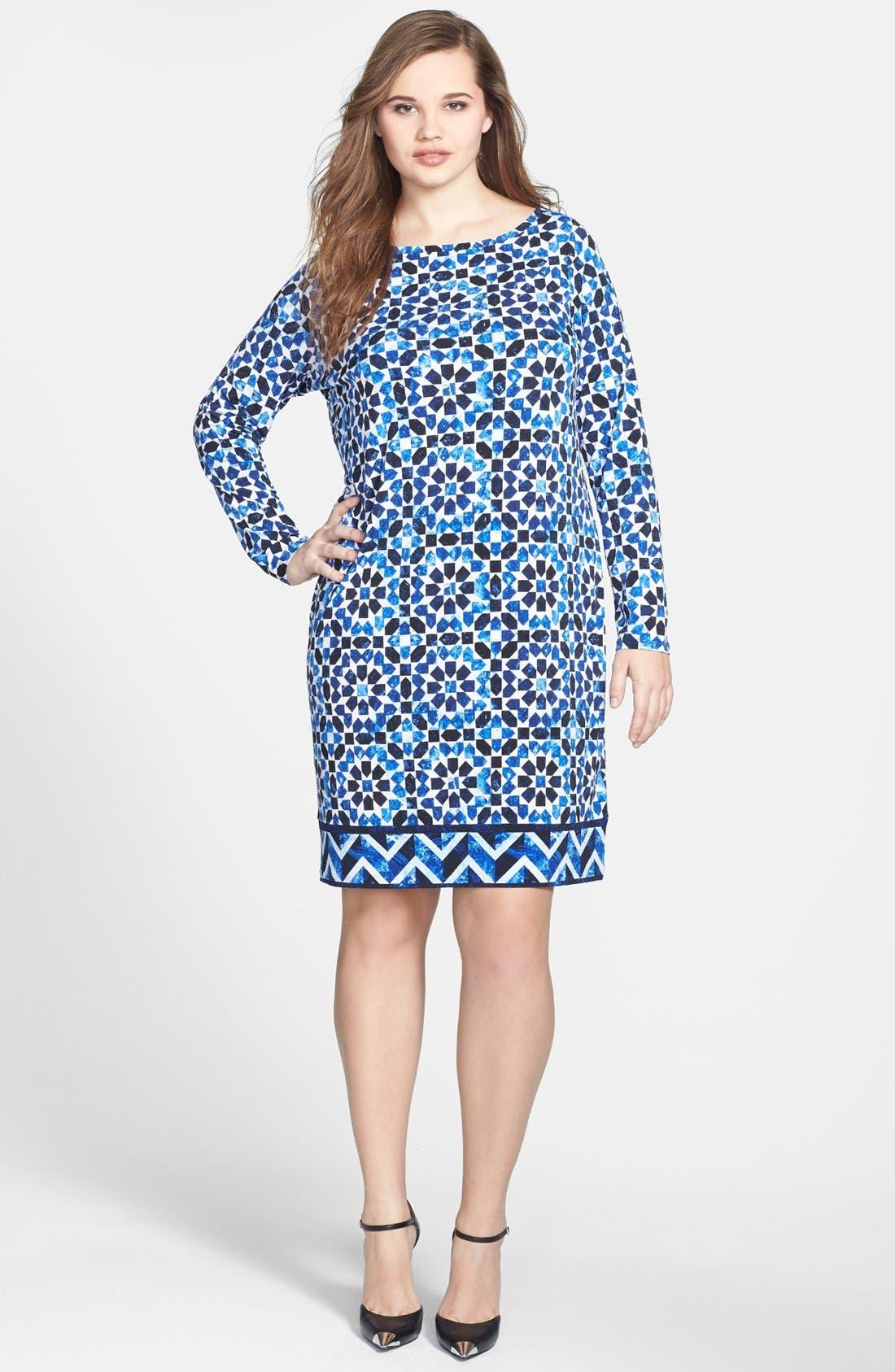 Main Image - MICHAEL Michael Kors Print Jersey Sheath Dress (Plus Size)