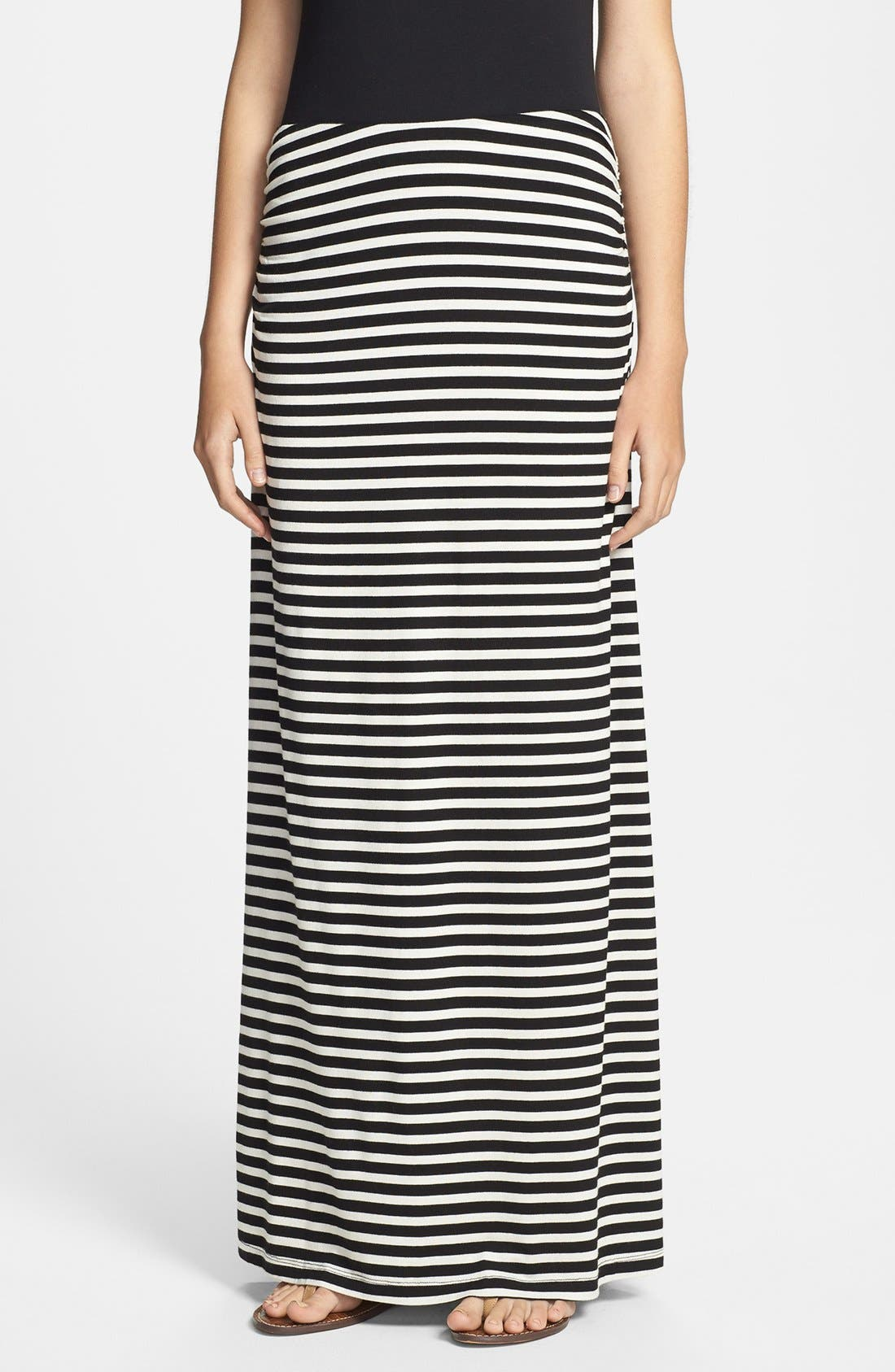 Convertible Maxi Skirt,                         Main,                         color, Black/ White Stripe
