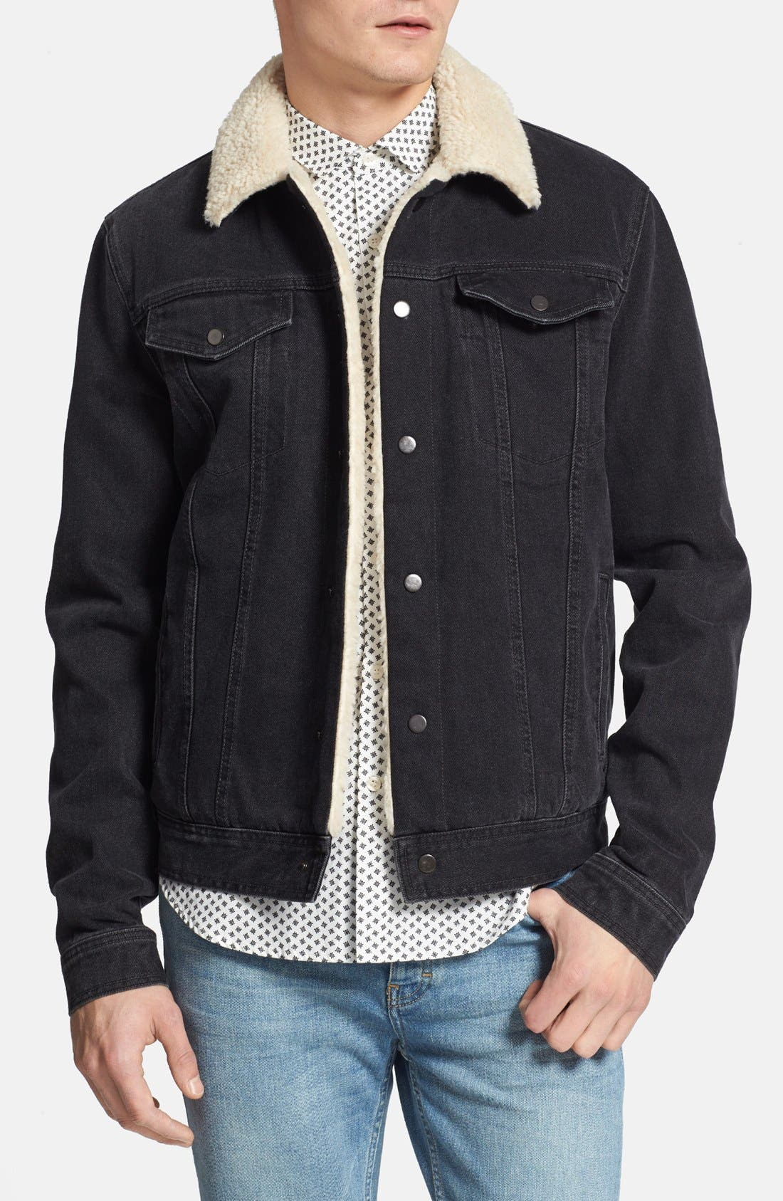 Main Image - Topman Lined Denim Jacket