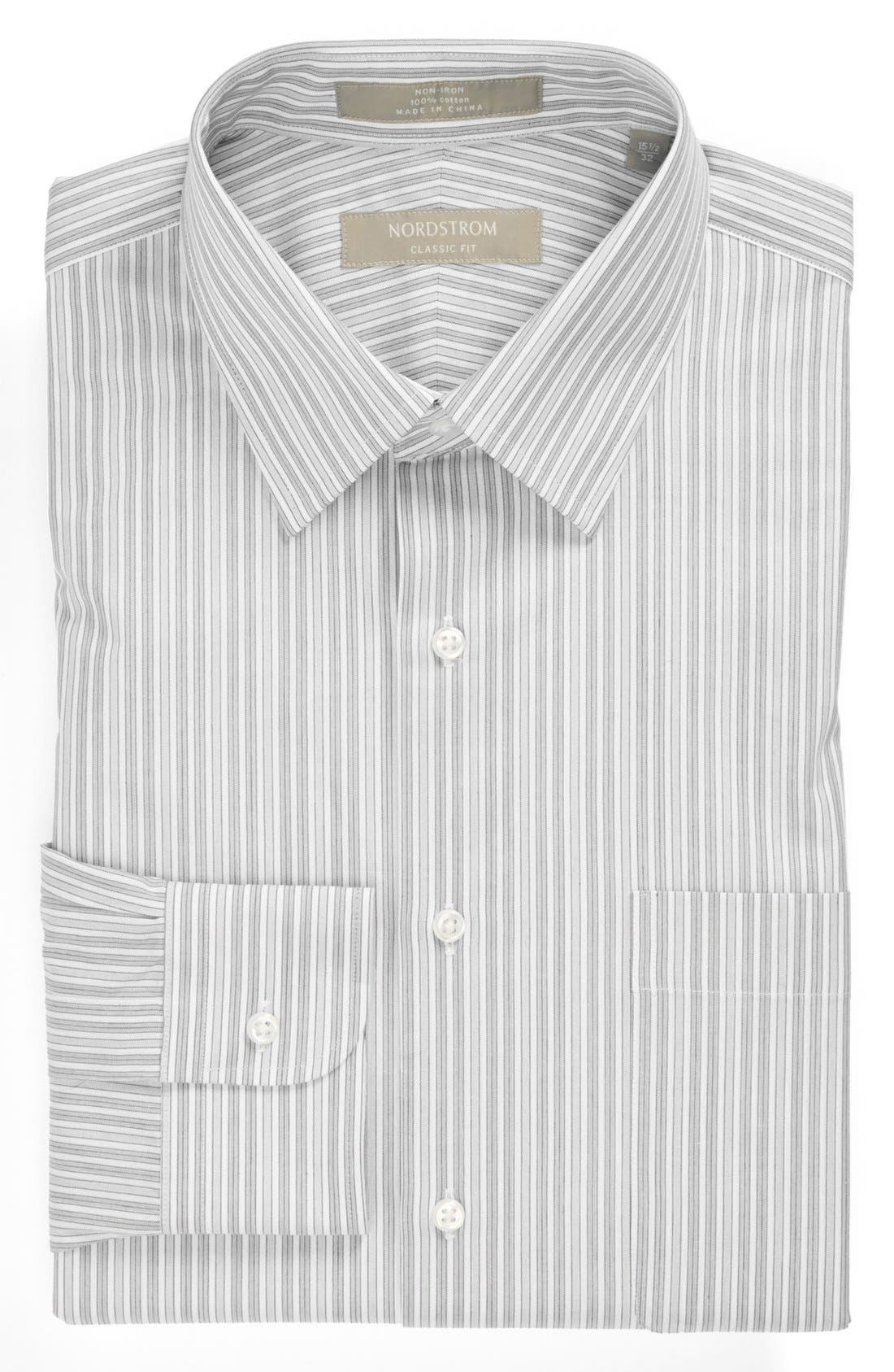 Nordstrom Classic Fit Non-Iron Dress Shirt,                         Main,                         color, Grey- Horizon