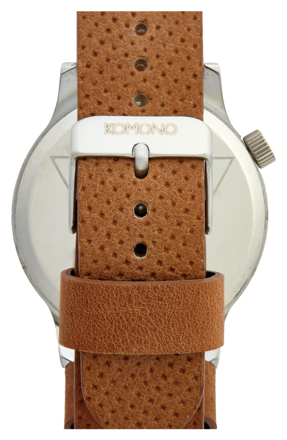 Alternate Image 2  - Komono 'Winston' Round Dial Leather Strap Watch, 41mm