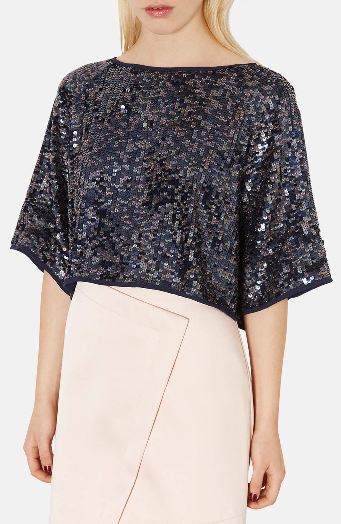 Alternate Image 1 Selected - Topshop Draped Sequin Crop Top