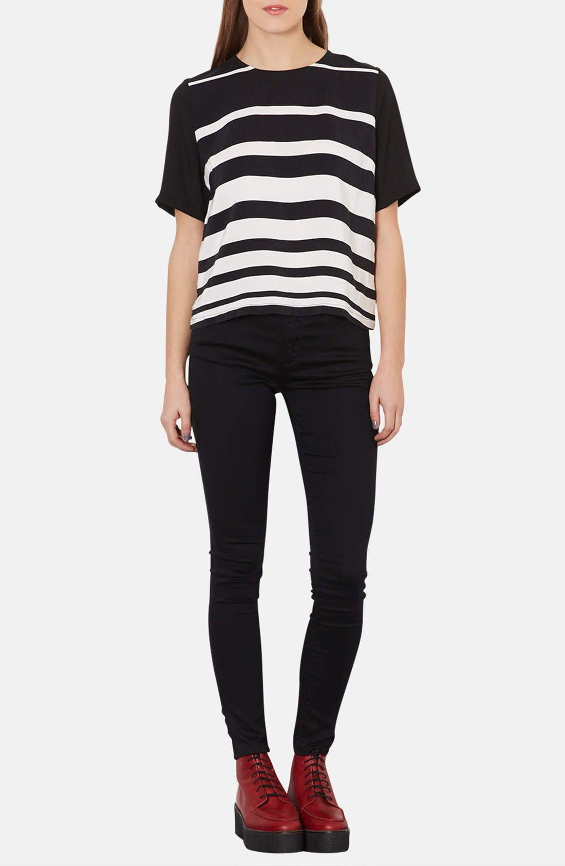Alternate Image 4  - Topshop Variegated Stripe Front Tee