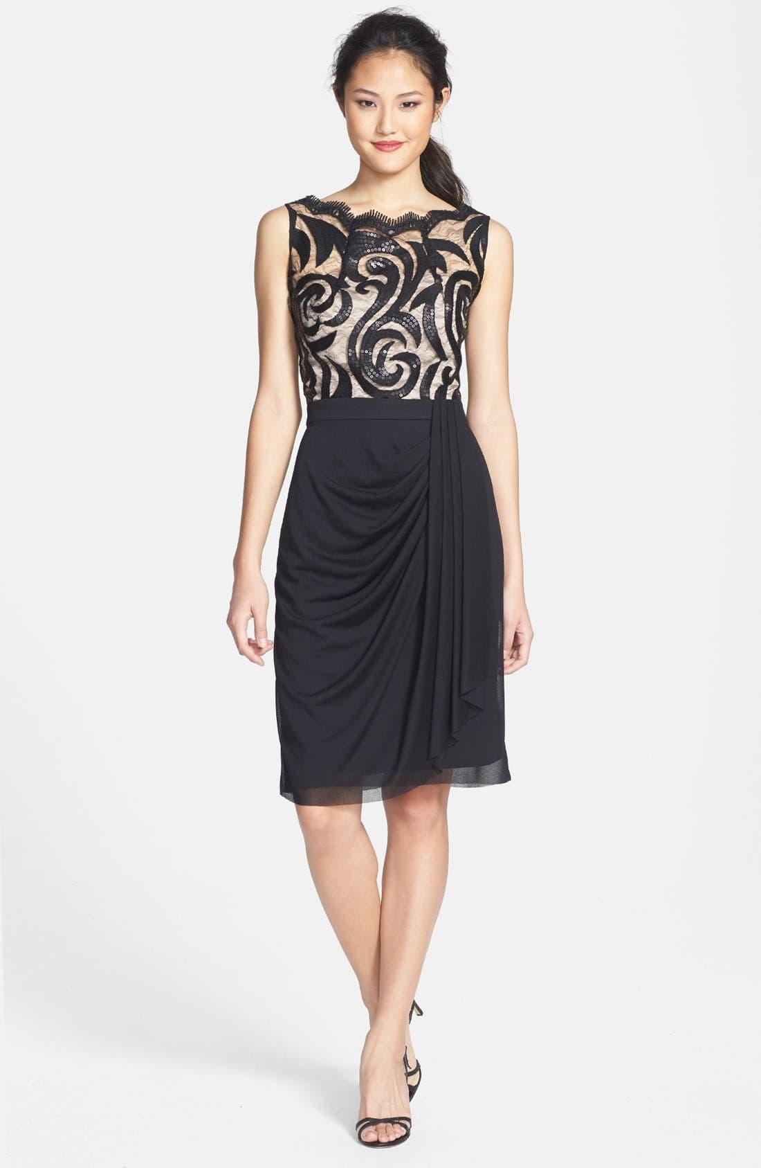 Alternate Image 1 Selected - Maggy London Embellished Draped Mesh Dress (Petite)