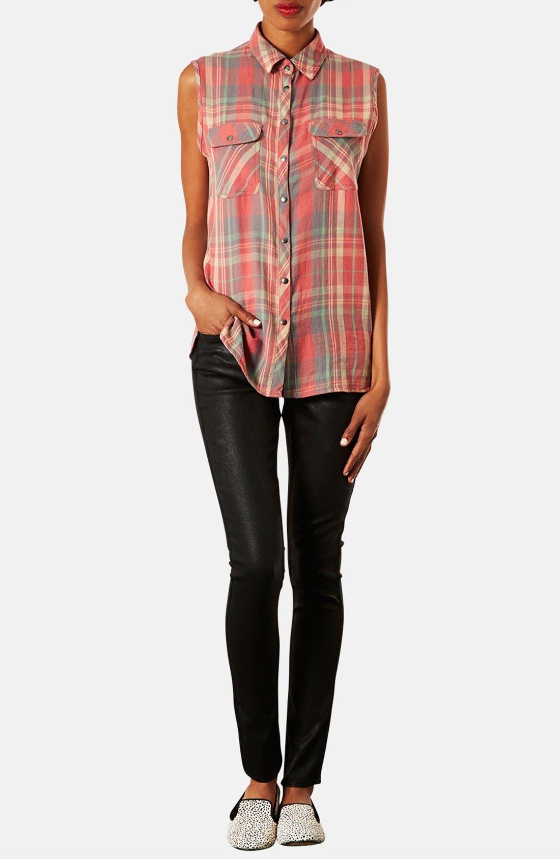 Alternate Image 4  - Topshop Moto 'Leigh' Coated Skinny Jeans (Petite)