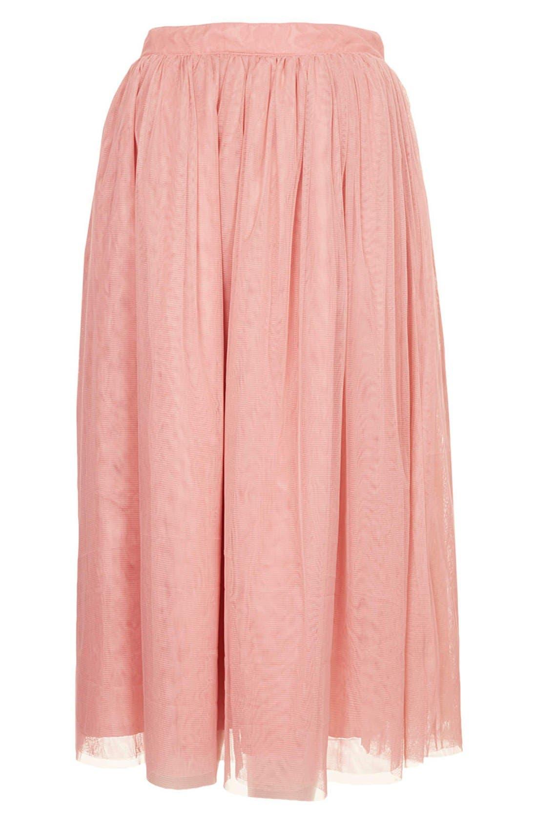 Alternate Image 3  - Topshop Pleated Mesh Midi Skirt