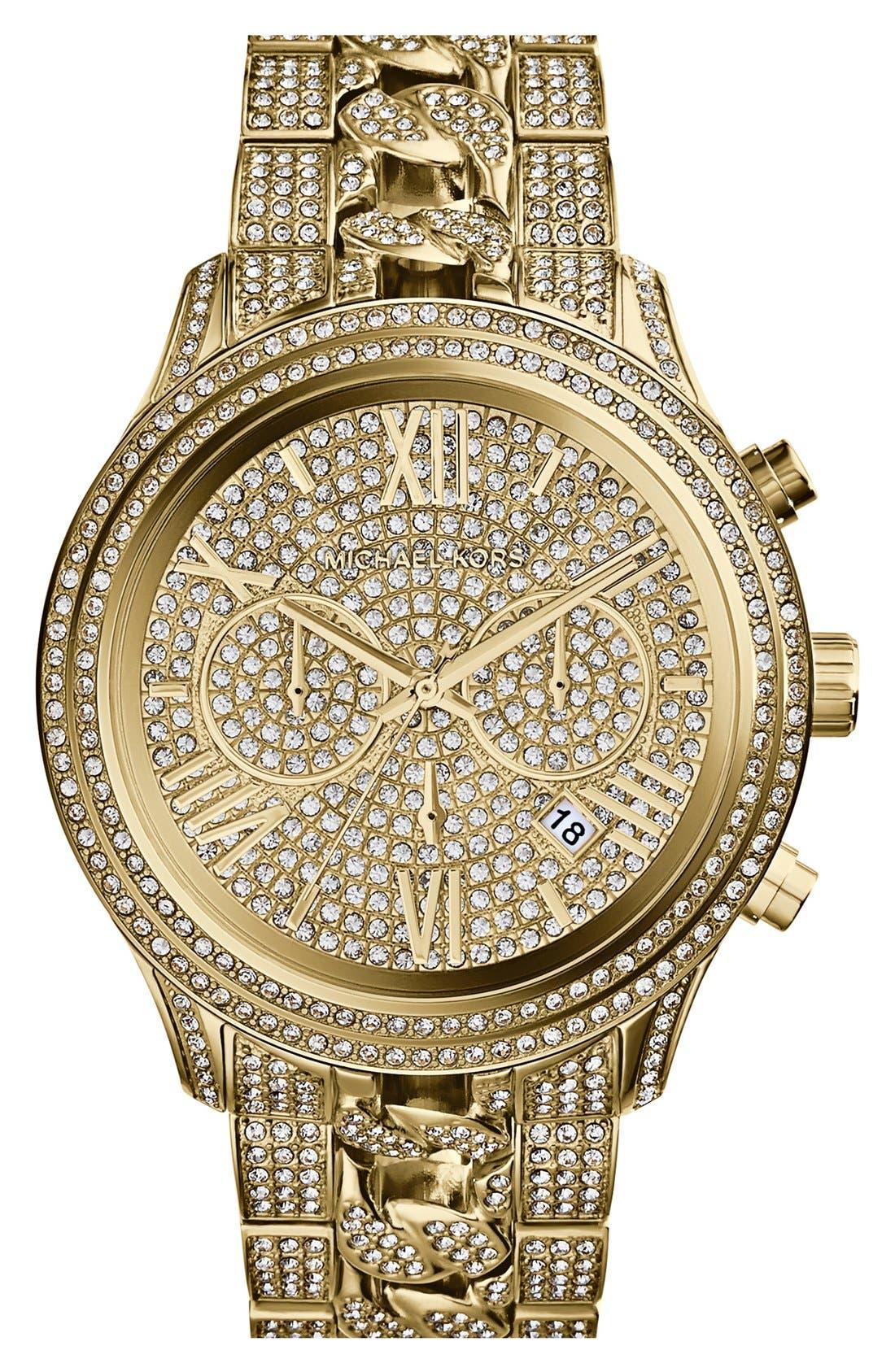 Main Image - Michael Kors 'Lindley' Pavé Chronograph Bracelet Watch, 48mm
