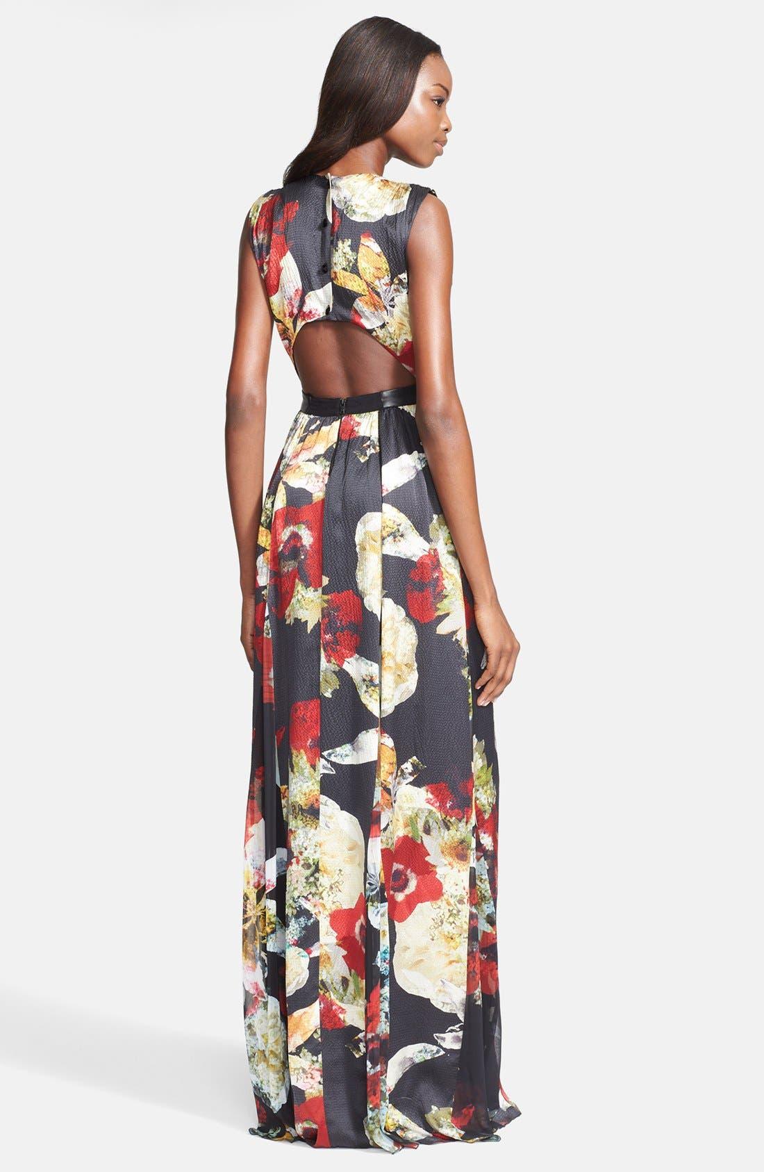 Alternate Image 2  - Alice + Olivia 'Triss' Print Silk Maxi Dress