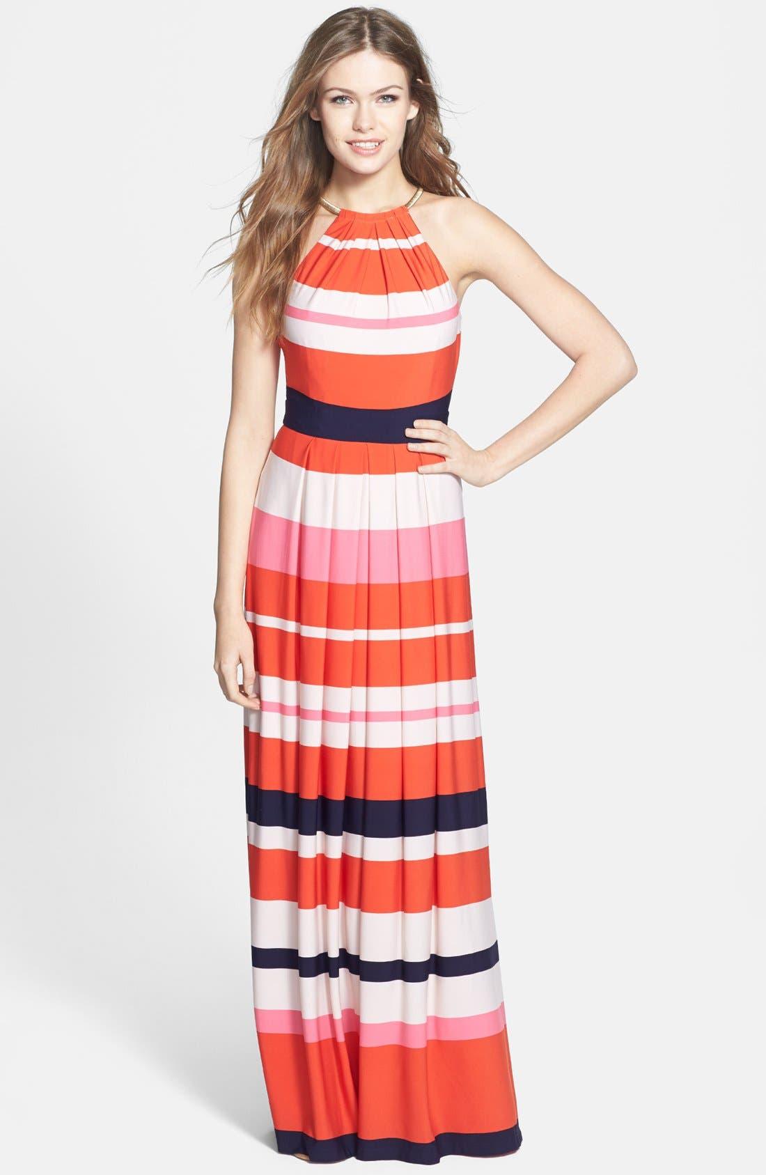 Alternate Image 1 Selected - Eliza J Stripe Jersey Maxi Dress (Regular & Petite)