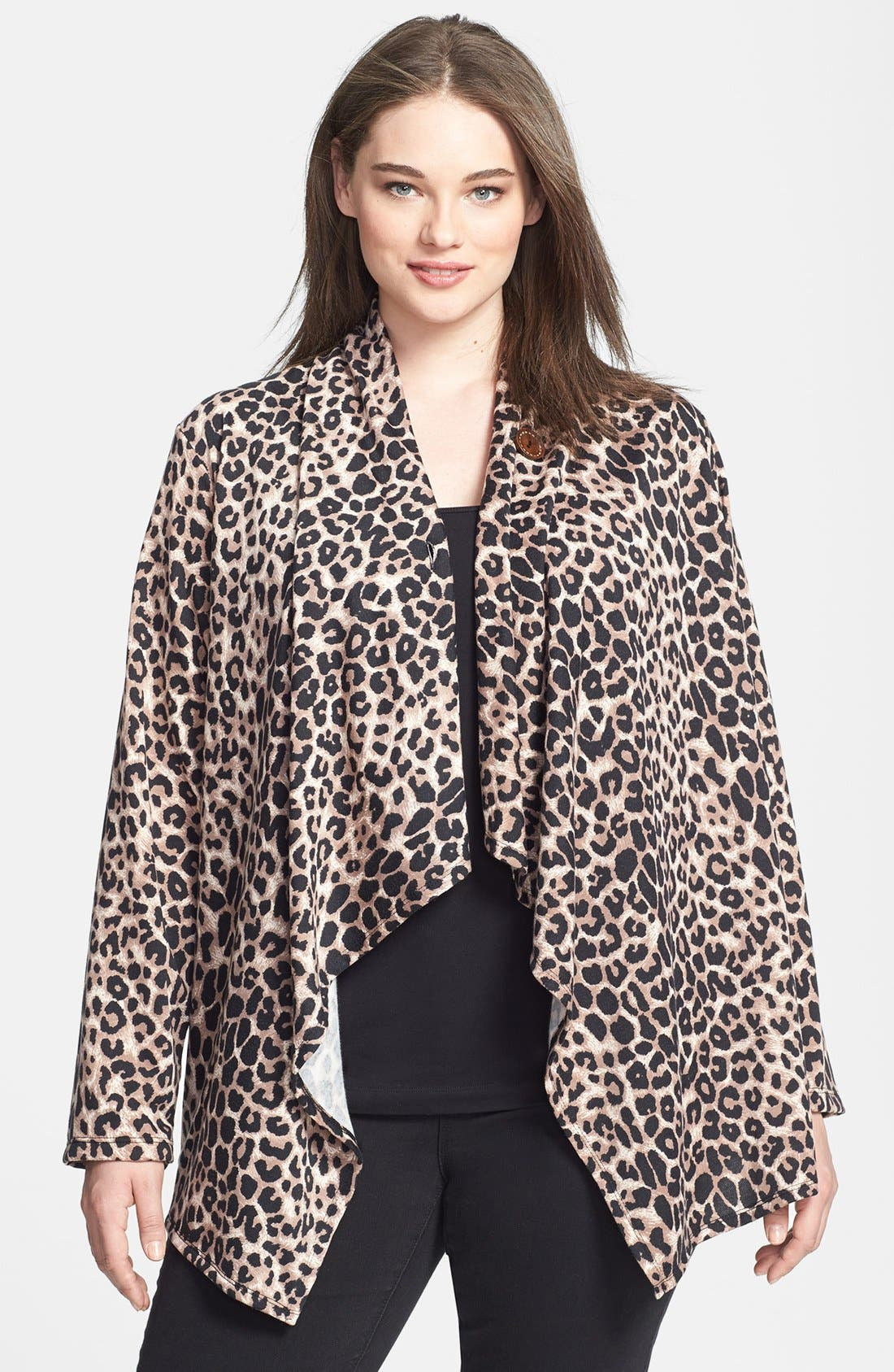 Alternate Image 1 Selected - Bobeau Animal Print Fleece Wrap (Plus Size)
