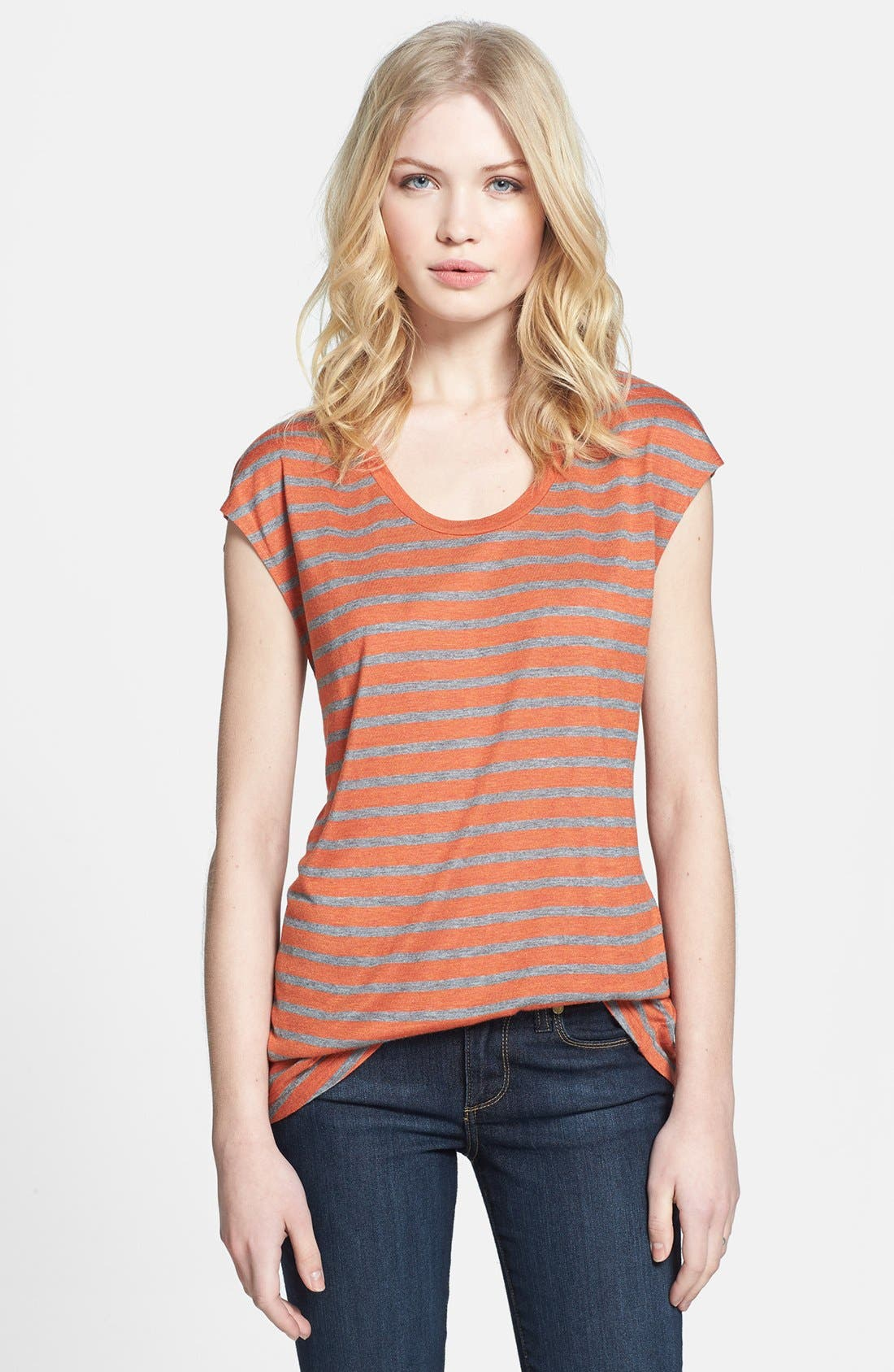 Main Image - Hinge® Split Back Stripe Tee