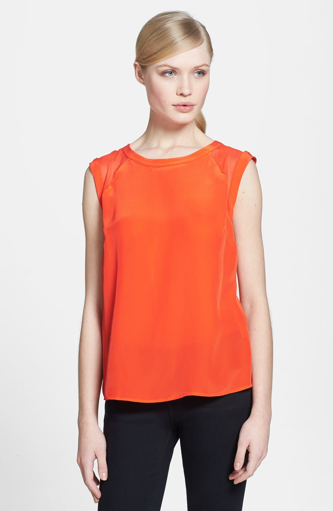 Alternate Image 1 Selected - Search for Sanity Organza Inset Woven Tank