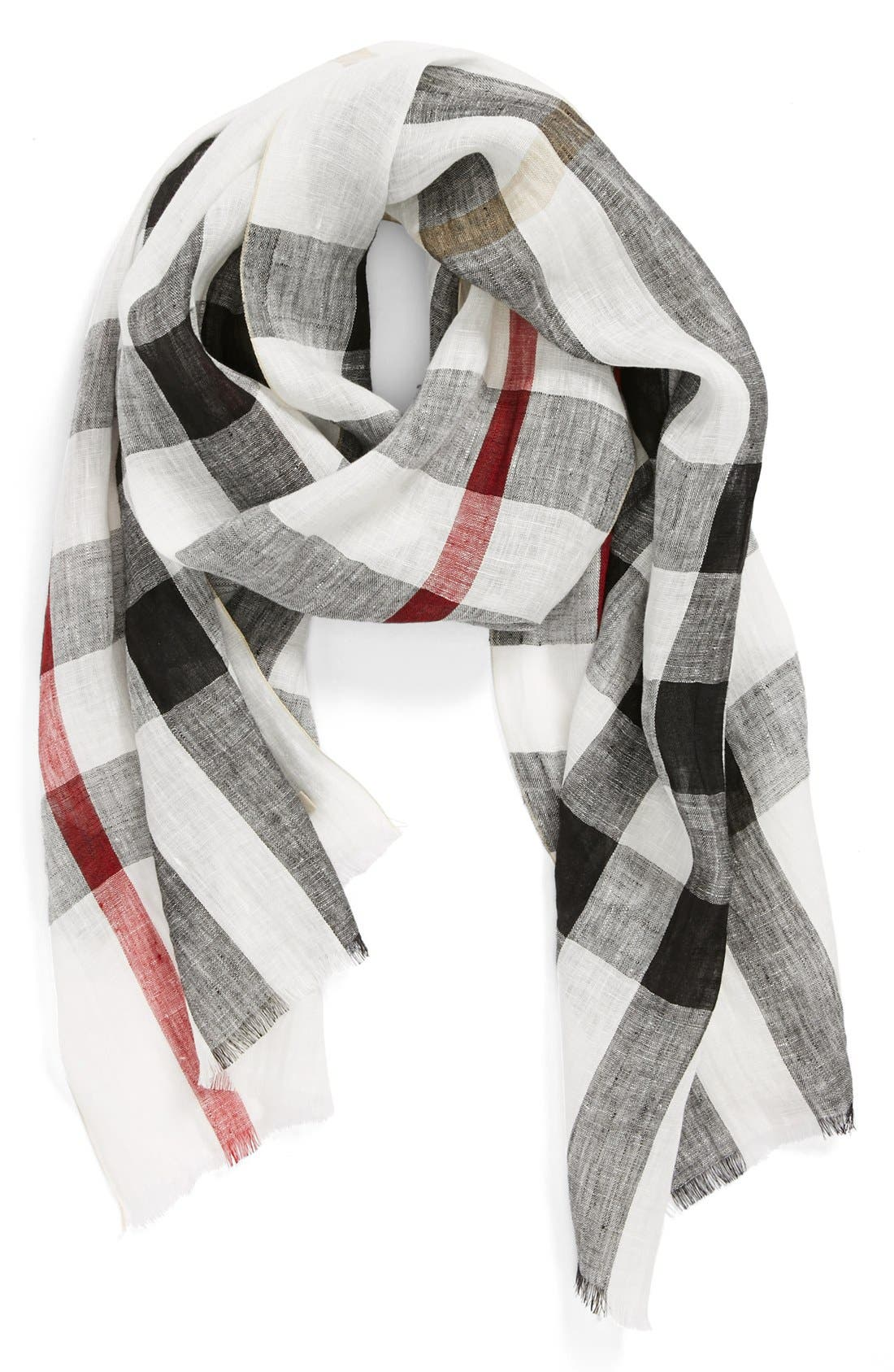 Main Image - Burberry 'Giant Exploded Check' Linen Scarf