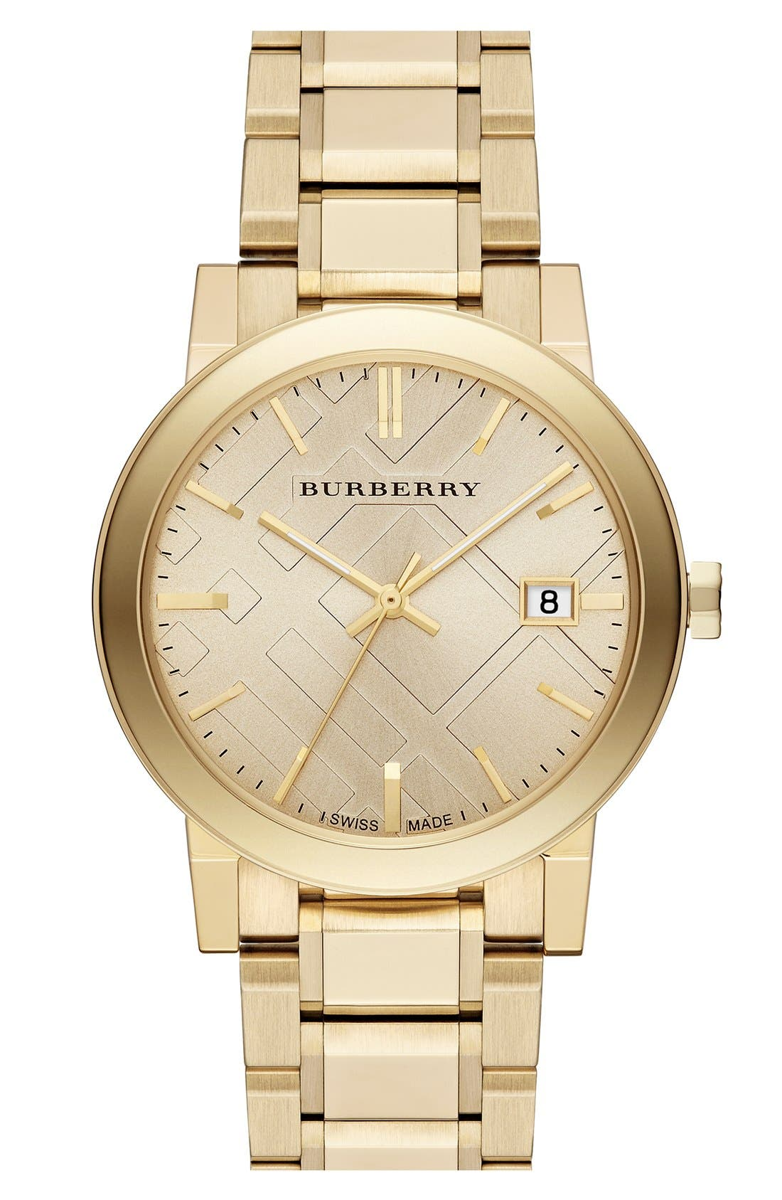 Check Stamped Round Bracelet Watch, 38mm,                         Main,                         color, Gold