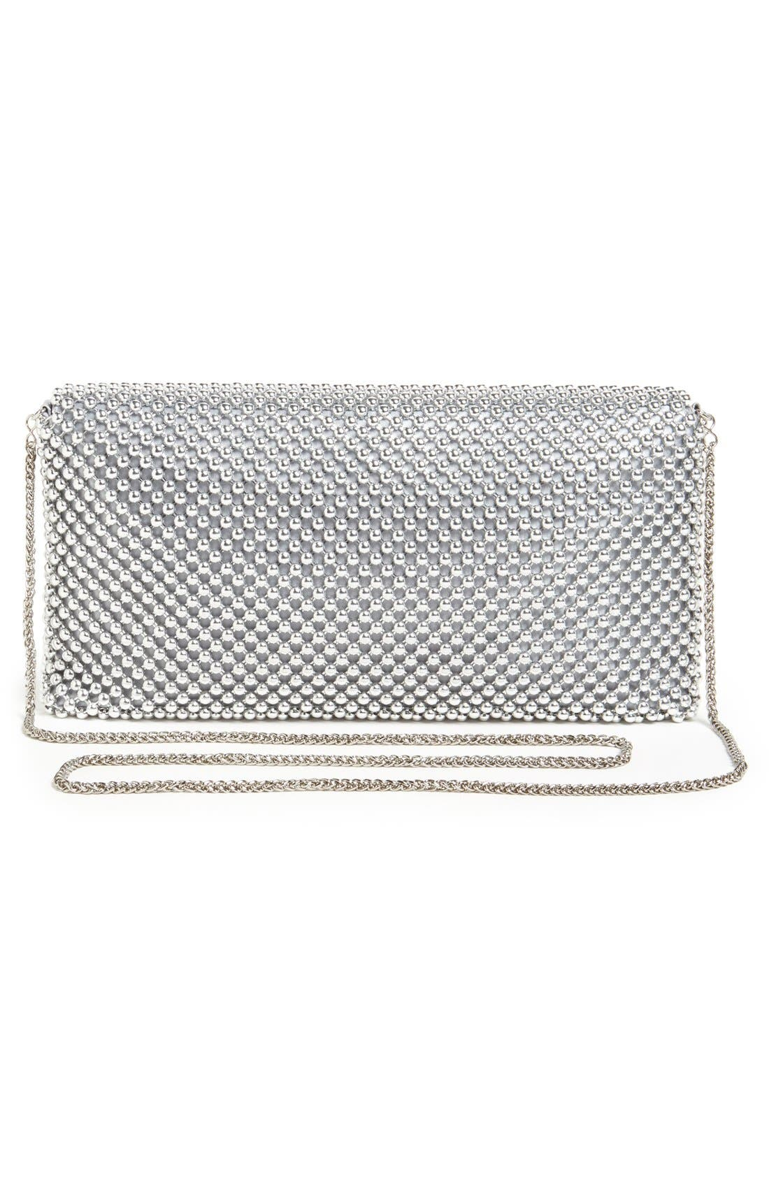 Beaded Mesh Clutch,                             Alternate thumbnail 3, color,                             Silver