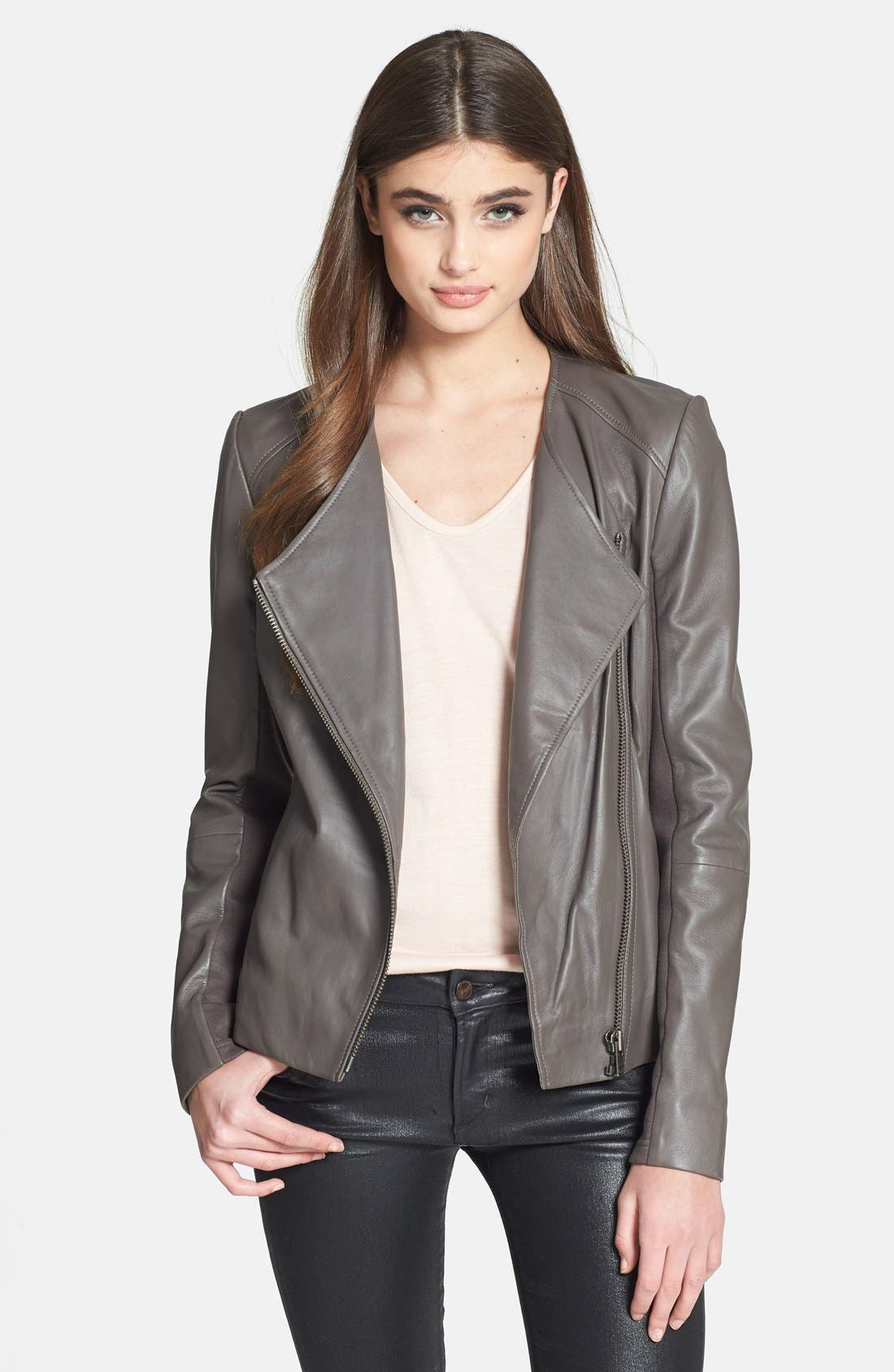 Main Image - Trouvé Collarless Leather Jacket