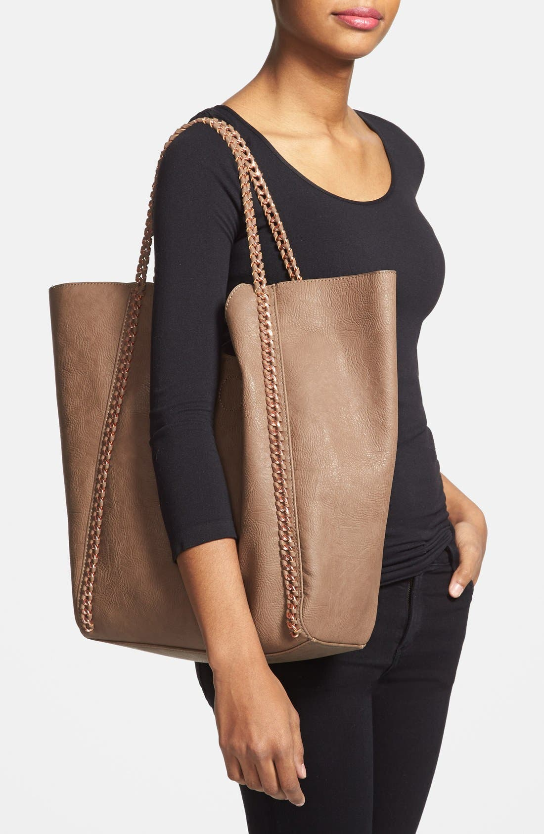 Alternate Image 2  - Street Level Faux Leather Tote