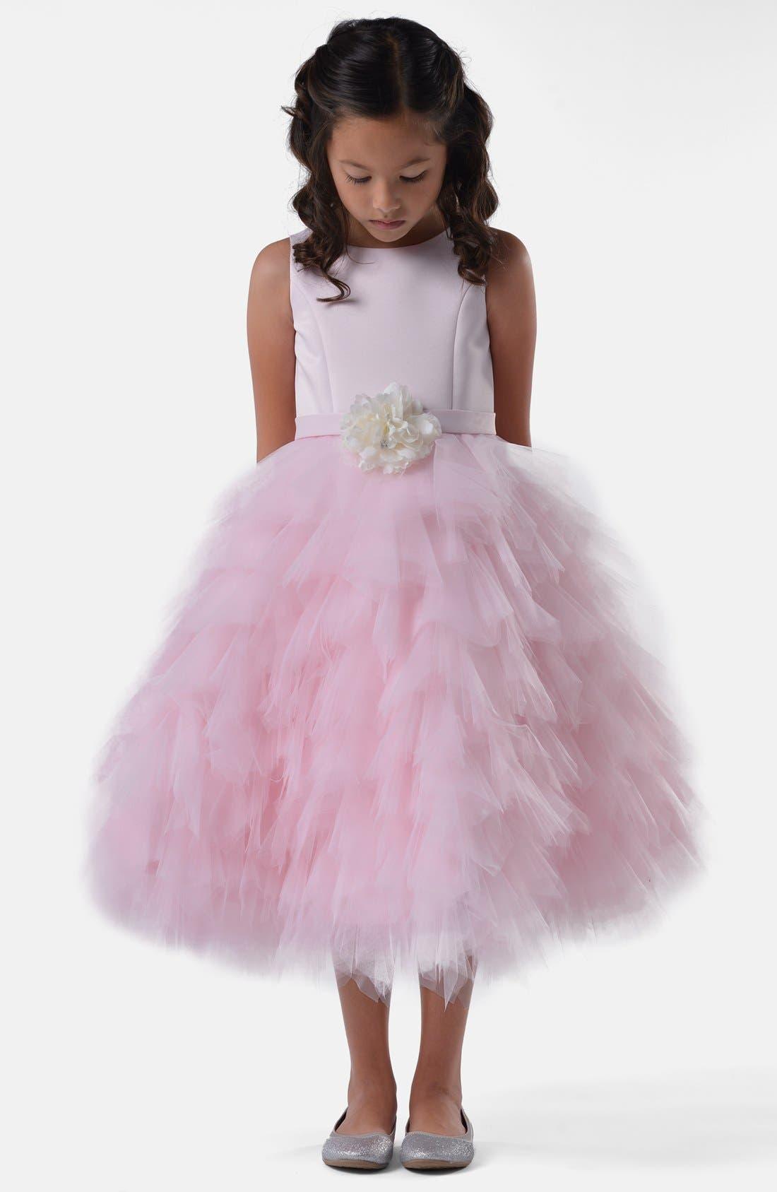 Alternate Image 1 Selected - Us Angels Satin & Tulle Dress (Toddler Girls, Little Girls & Big Girls)