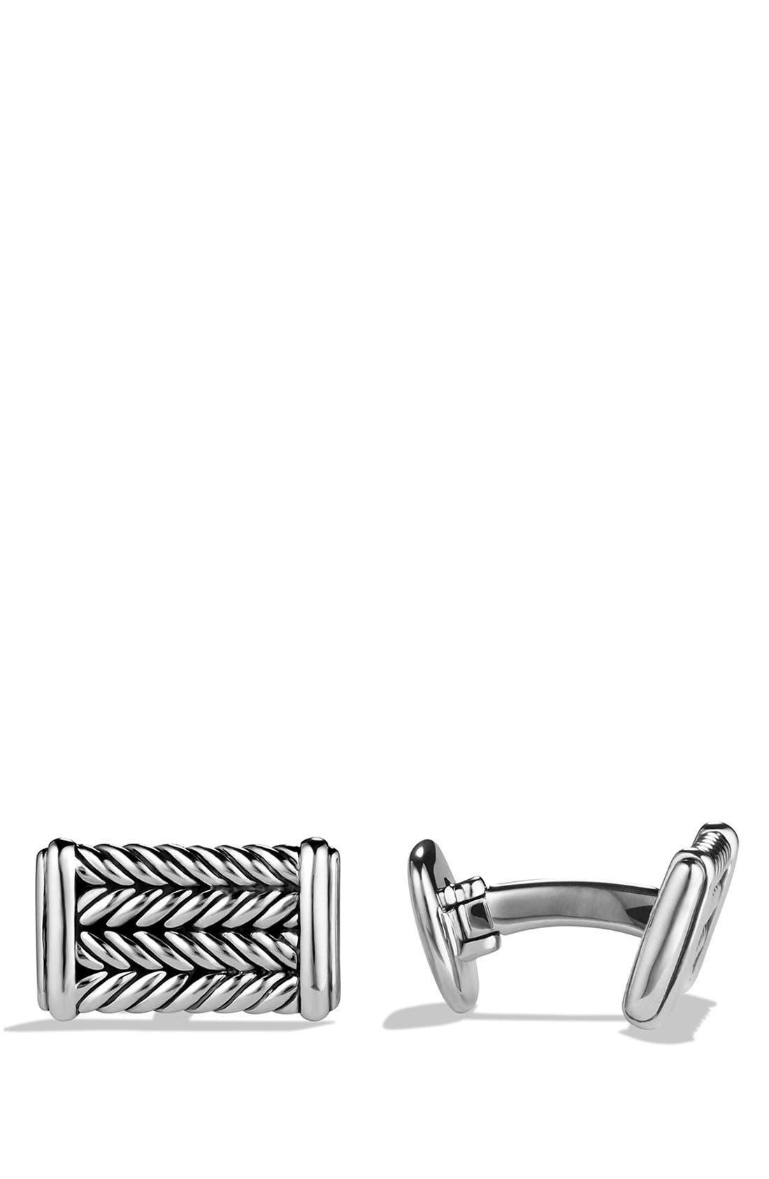 'Chevron' Cuff Links,                             Main thumbnail 1, color,                             Silver