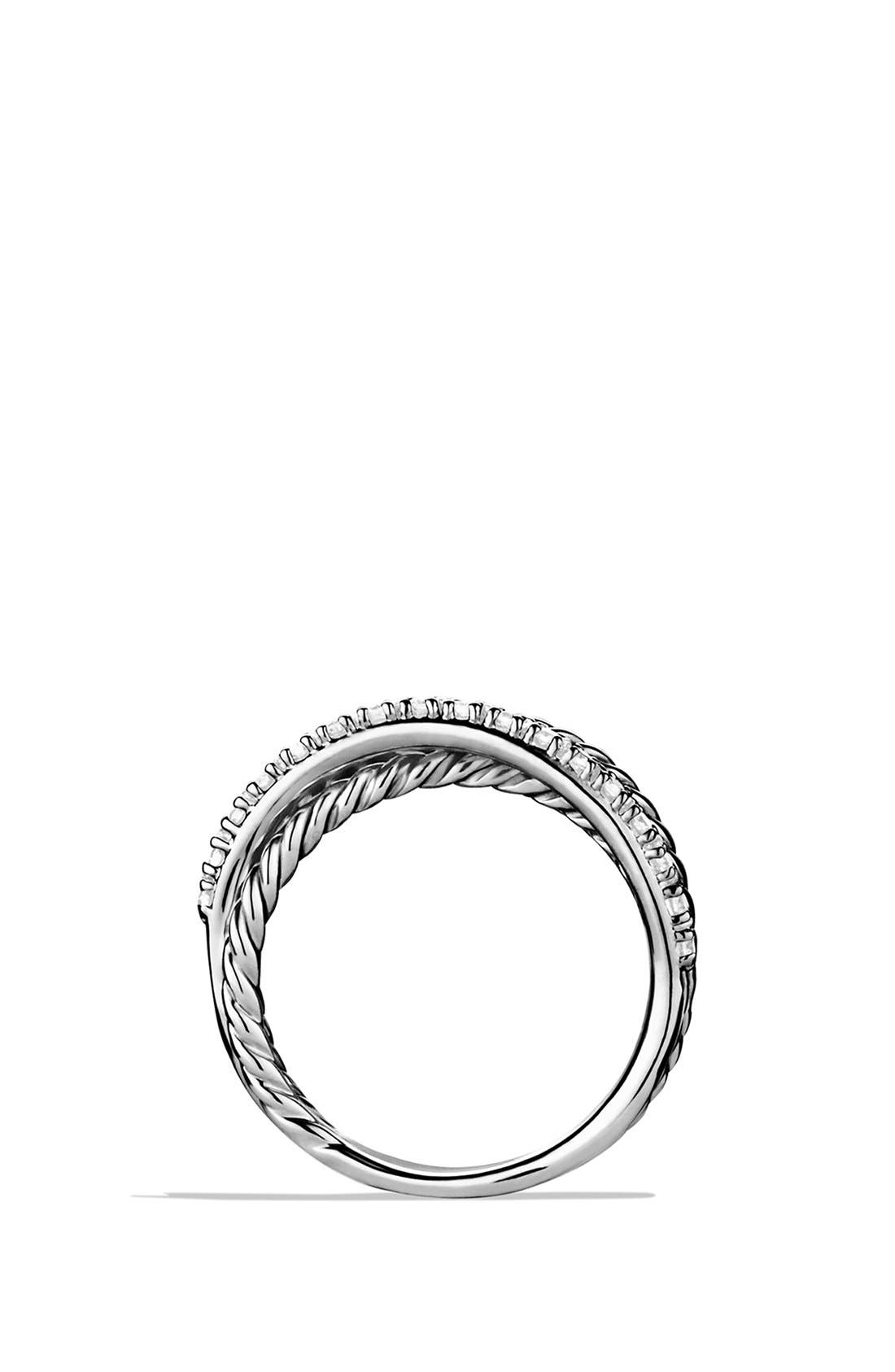 'Crossover' Ring with Diamonds,                             Alternate thumbnail 4, color,                             Silver/ Diamond