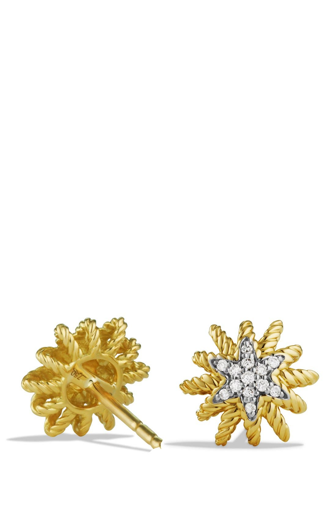 'Starburst' Mini Earrings with Diamonds in Gold,                             Alternate thumbnail 2, color,                             Yellow Gold