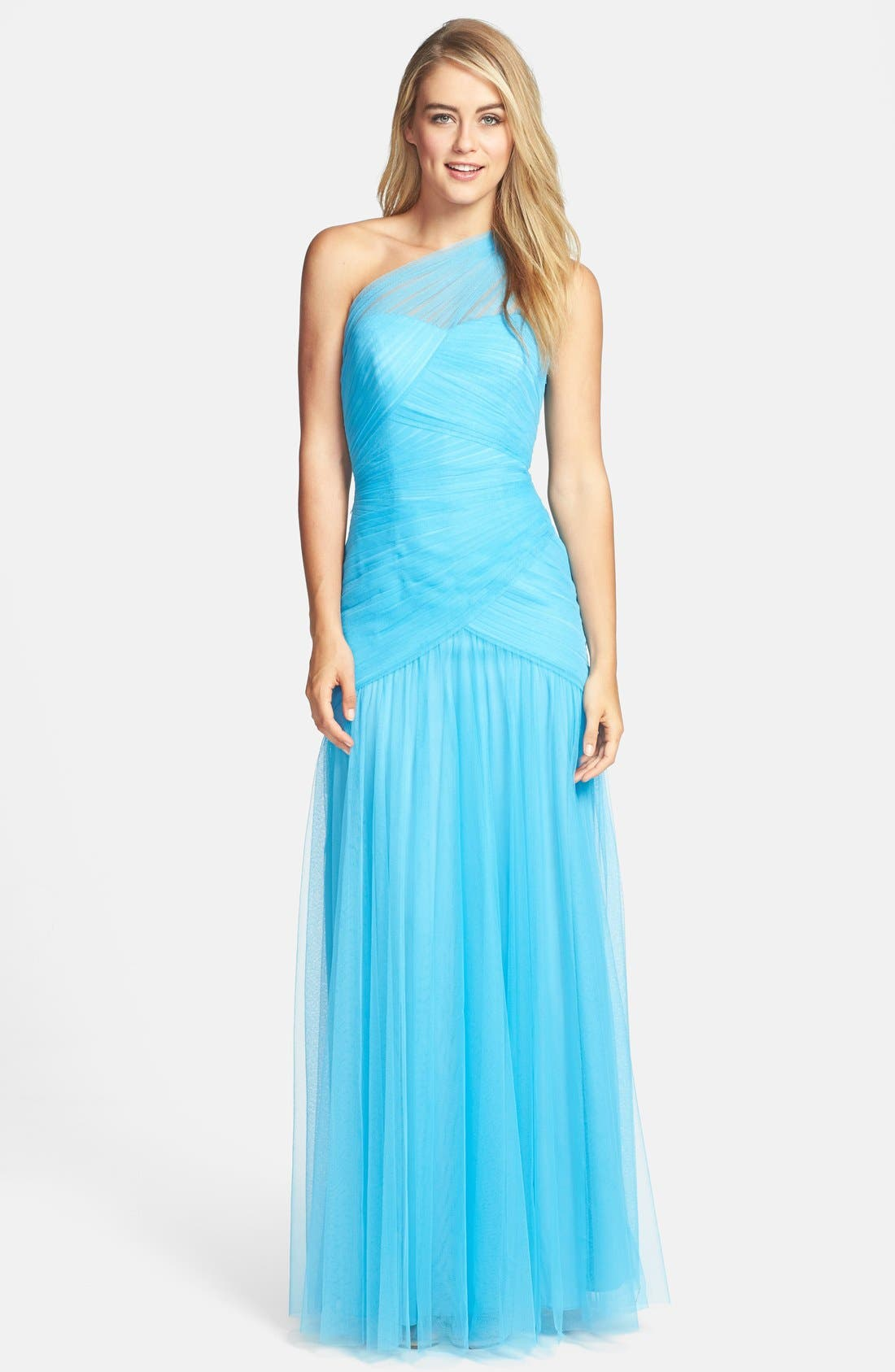 Main Image - ML Monique Lhuillier Bridesmaids Shirred One-Shoulder Tulle Gown (Nordstrom Exclusive)