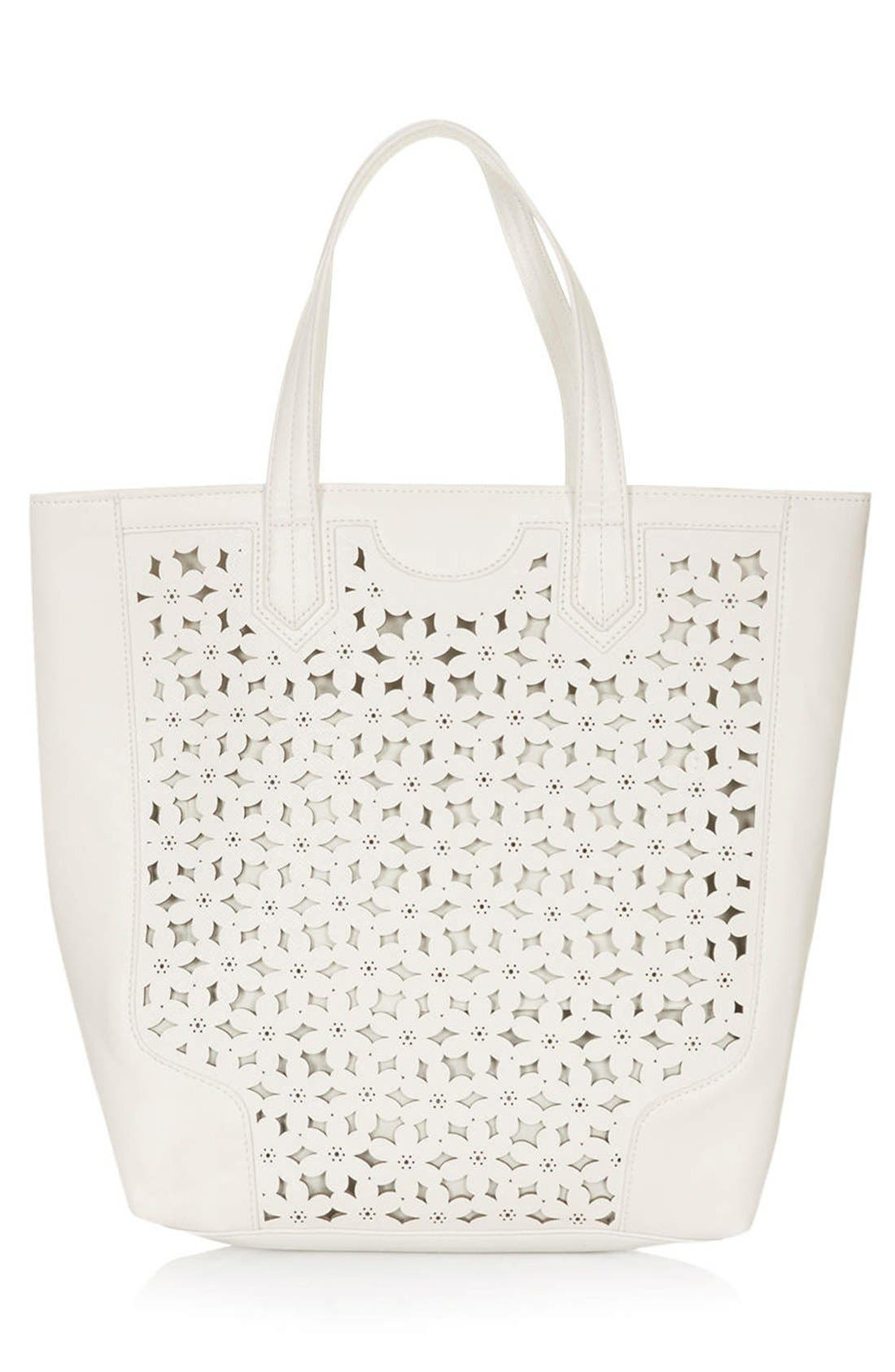 Alternate Image 1 Selected - Topshop Daisy Cutout Tote Bag