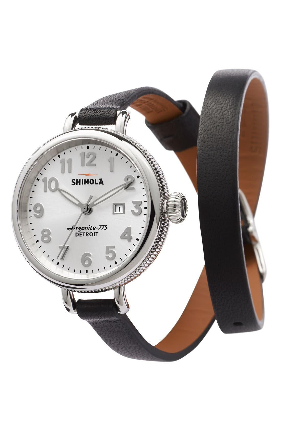 Alternate Image 4  - Shinola 'The Birdy' Double Wrap Leather Strap Watch, 34mm