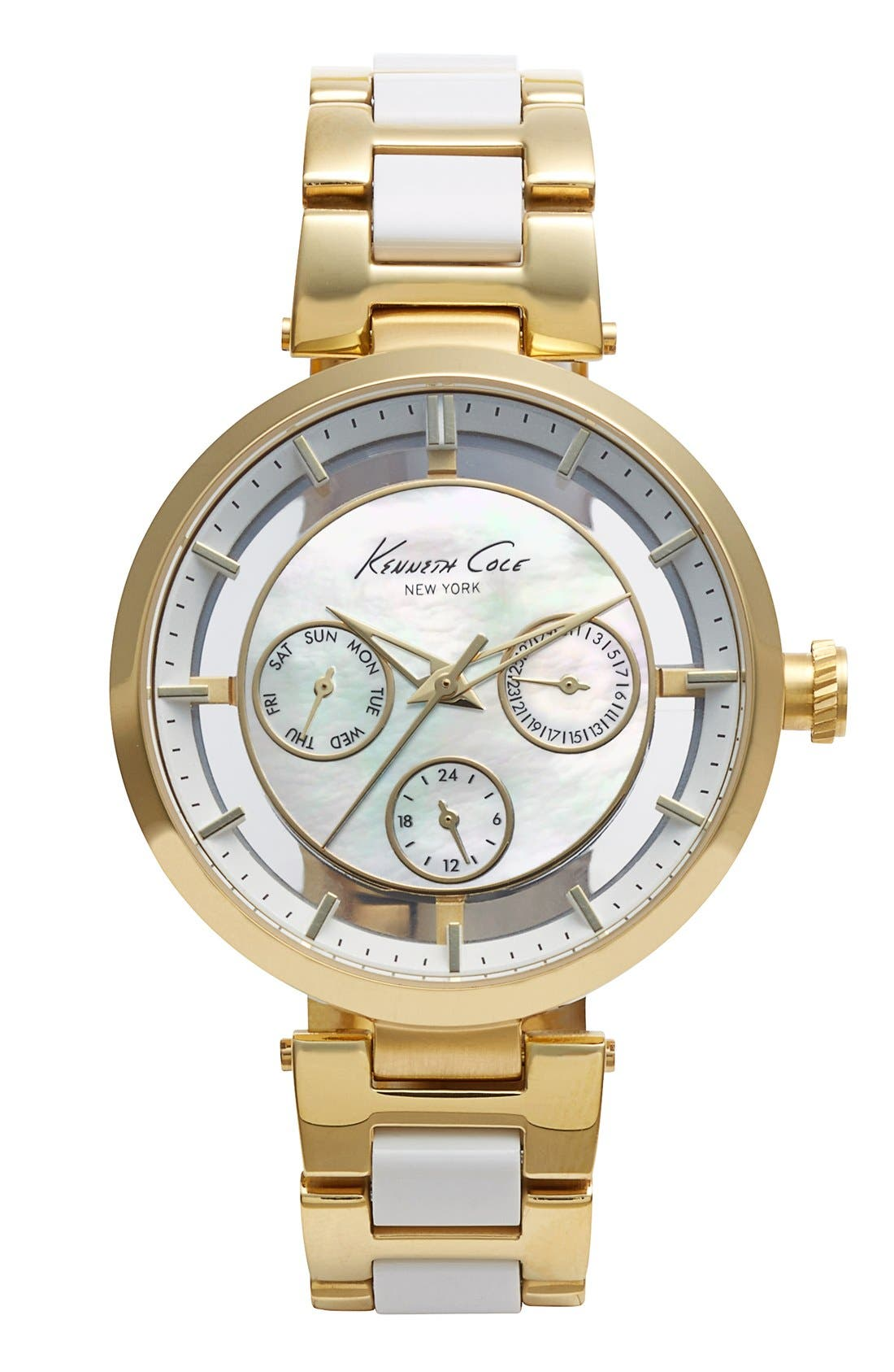 Main Image - Kenneth Cole New York Multifunction Transparent Dial Bracelet Watch, 38mm