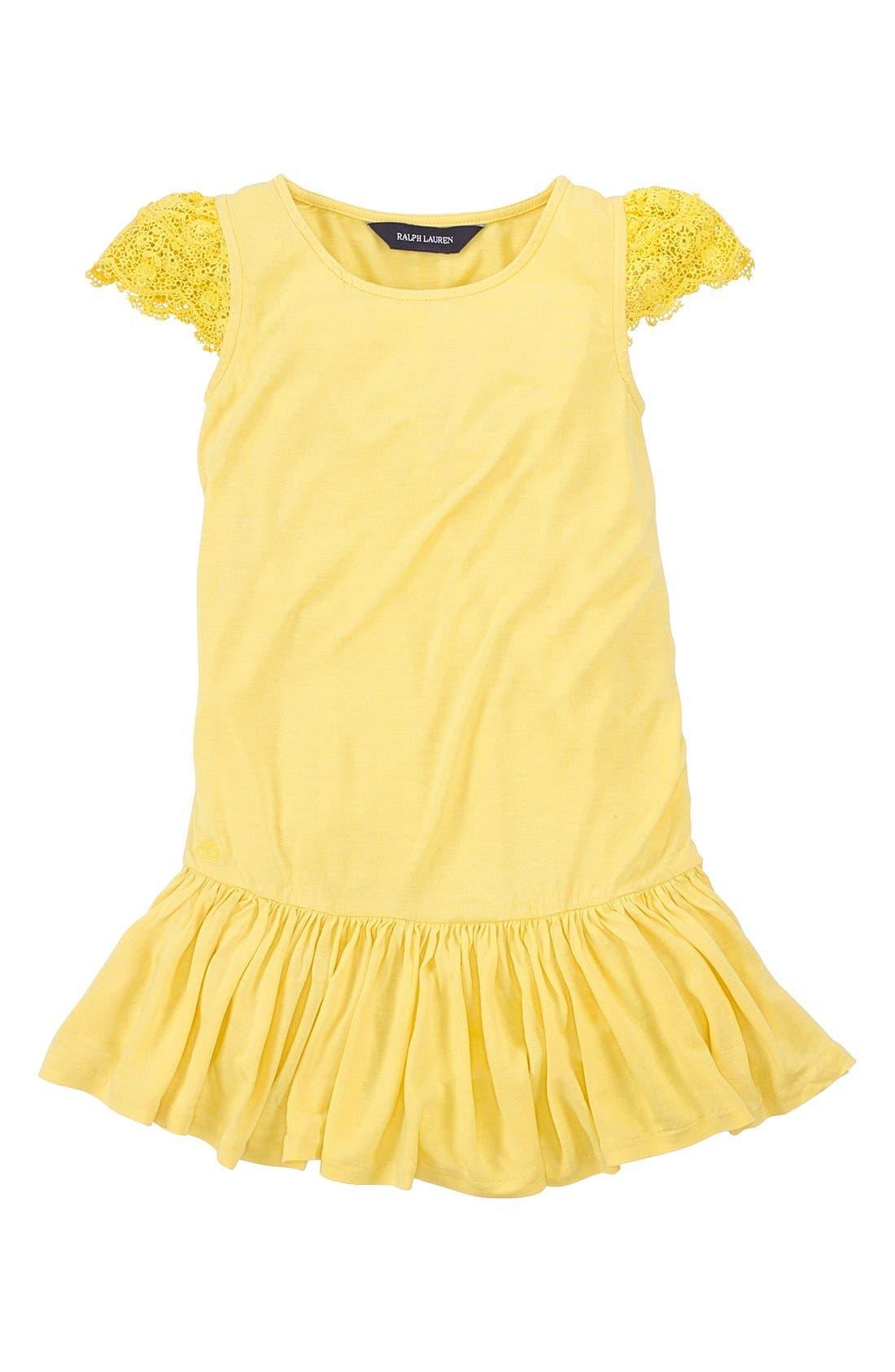 Alternate Image 1 Selected - Ralph Lauren Lace Sleeve Dress (Toddler Girls)