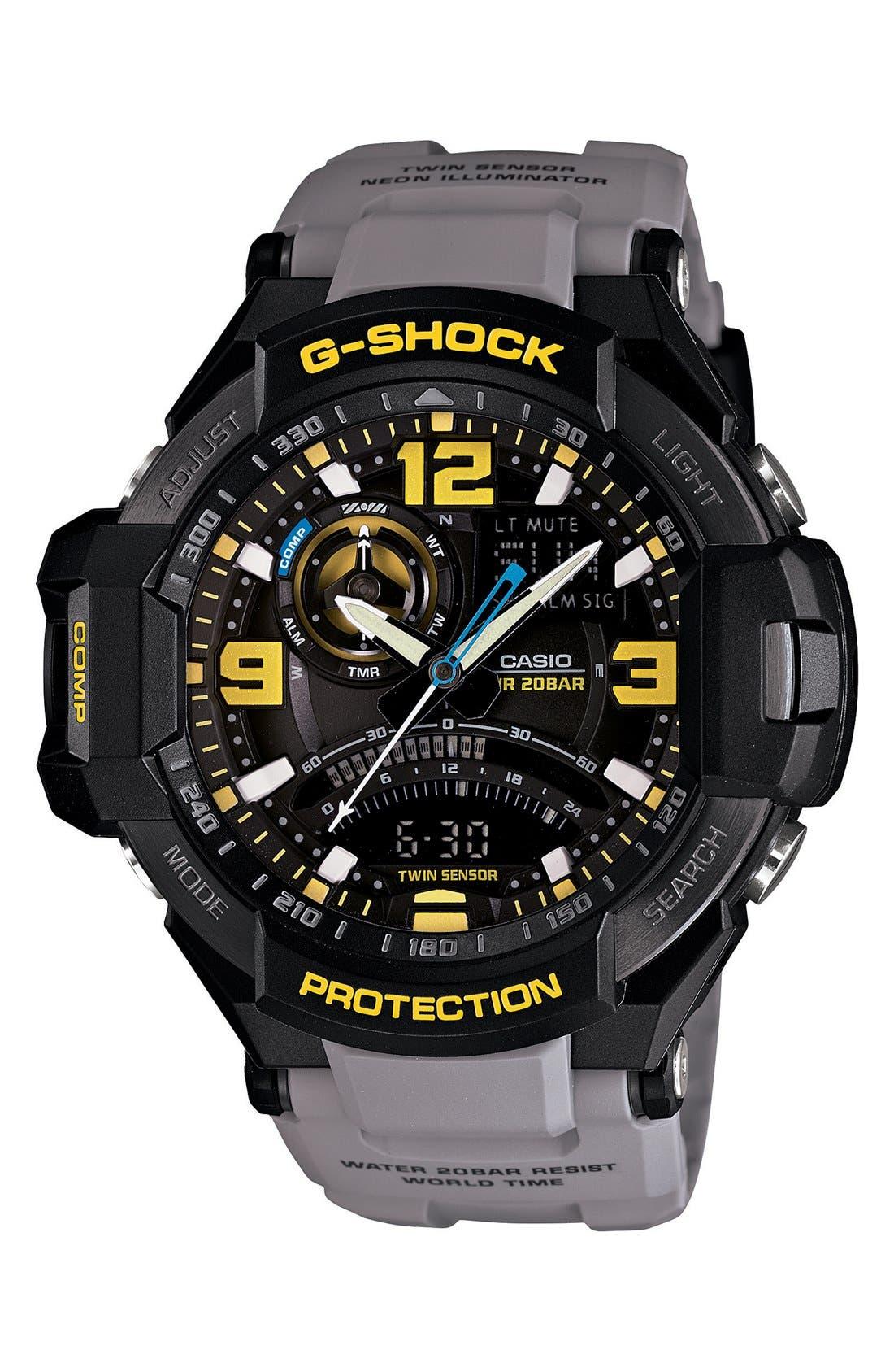 G-Shock 'Aviation' Ana-Digi Watch, 52mm,                         Main,                         color, Grey/ Black