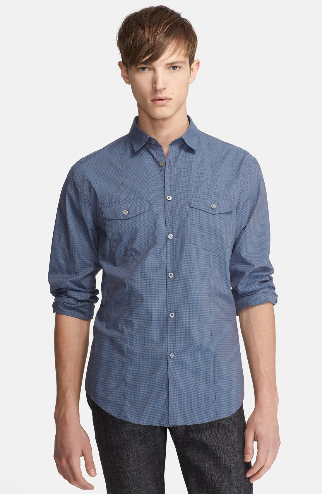 Main Image - John Varvatos Collection Slim Fit Check Cotton Shirt