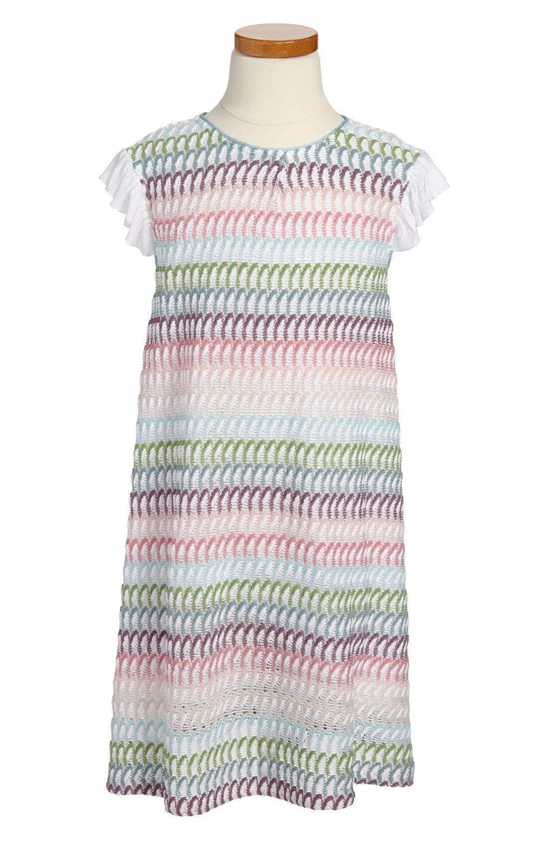 Main Image - Missoni Stripe Petal Flutter Sleeve Dress (Toddler Girls, Little Girls & Big Girls)