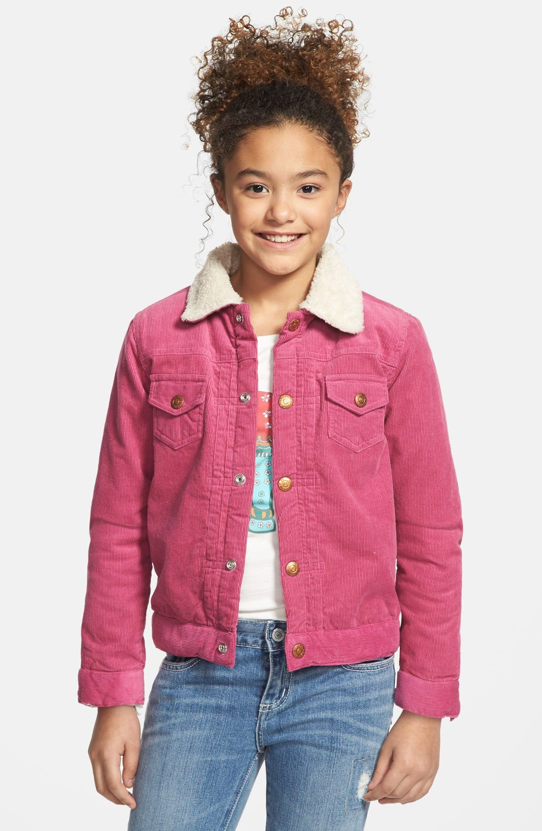 Alternate Image 2  - Peek Faux Shearling Lined Corduroy Jacket (Toddler Girls, Little Girls & Big Girls)