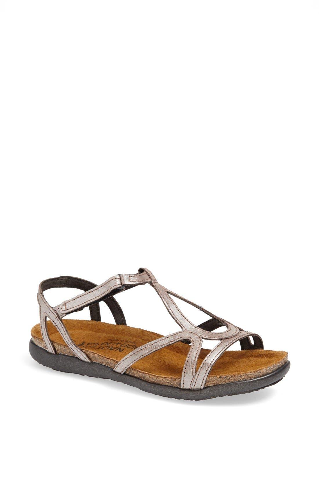'Dorith' Sandal,                             Main thumbnail 1, color,                             Silver Threads Leather