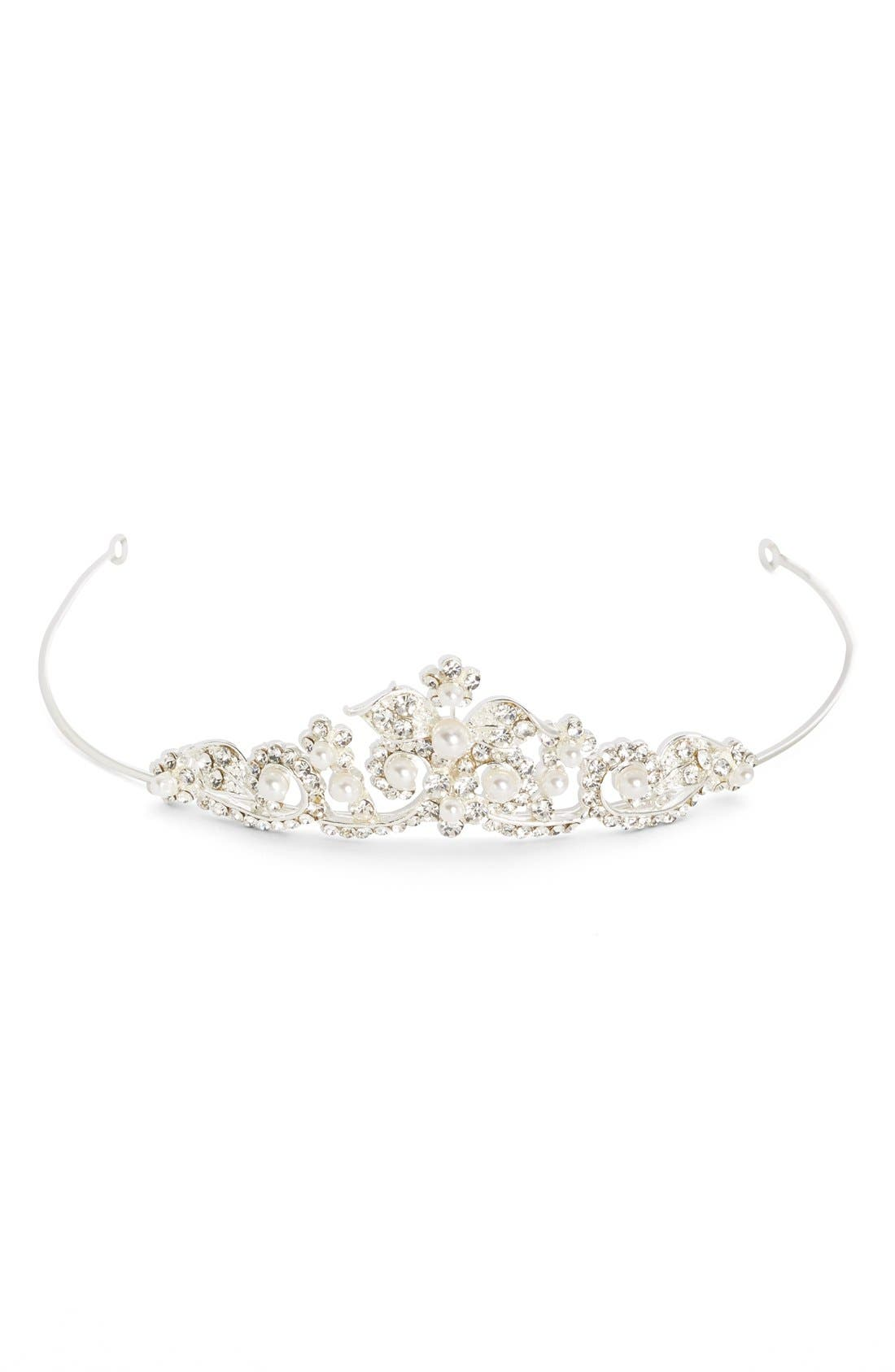 Main Image - Wedding Belles New York Czech Crystal & Faux Pearl Tiara (Girls)