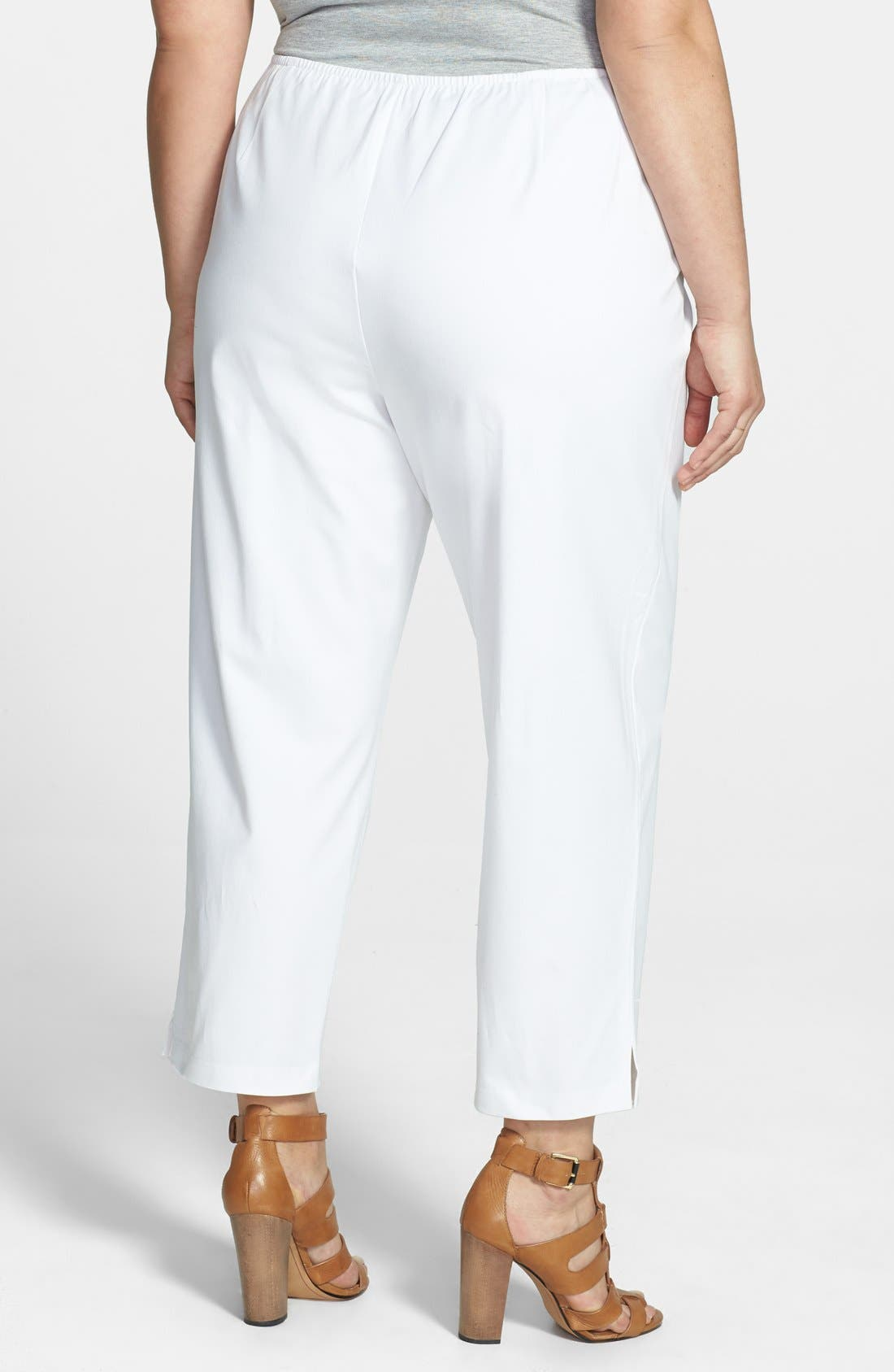 Stretch Organic Cotton Ankle Pants,                             Alternate thumbnail 2, color,                             White