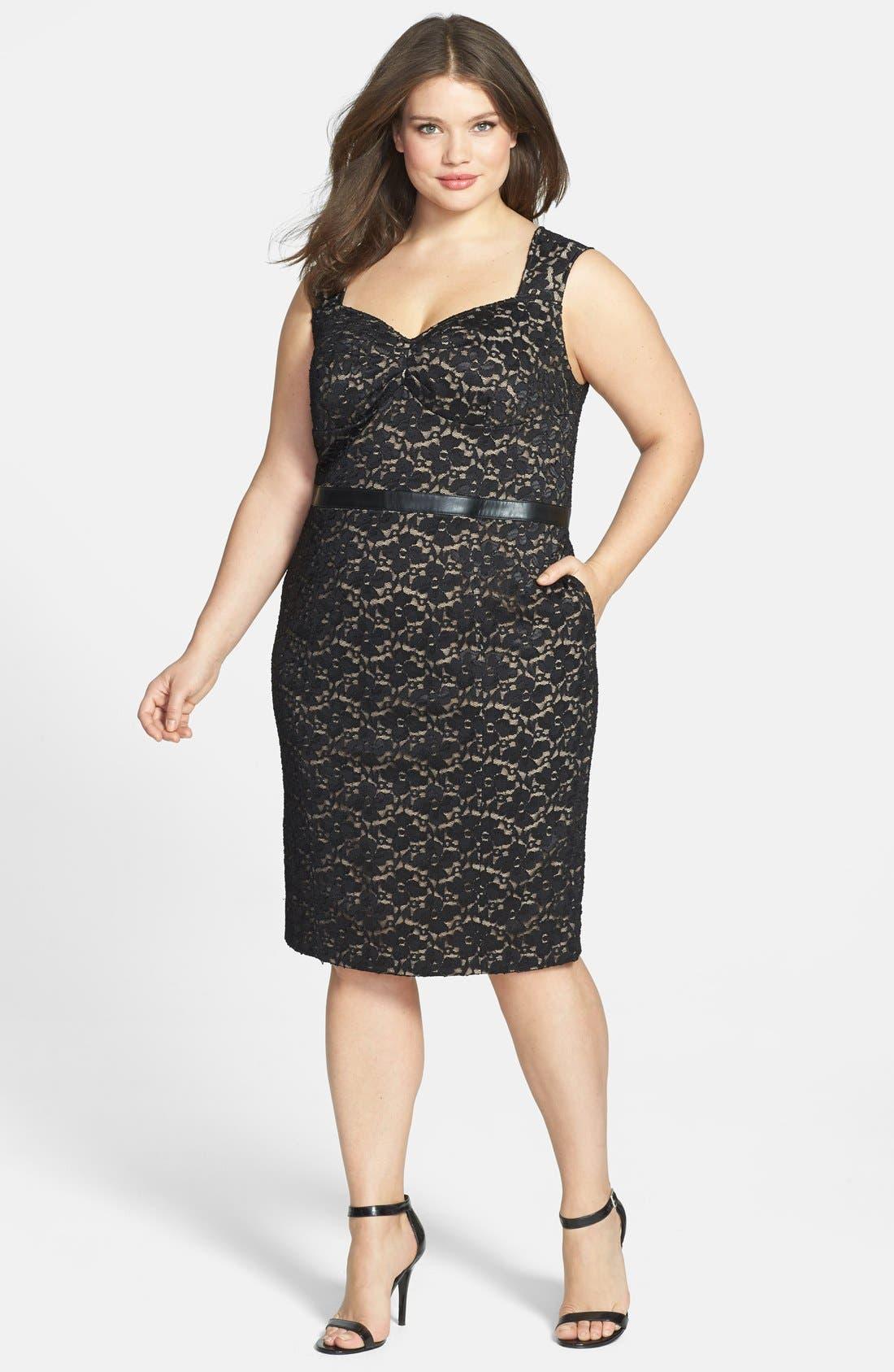 Main Image - ABS by Allen Schwartz Leather Waist Lace Sheath Dress (Plus Size)