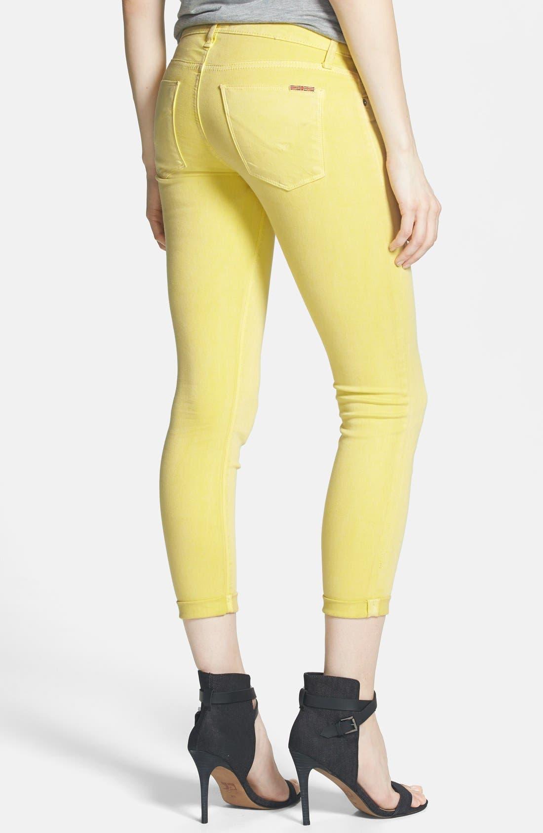 Alternate Image 2  - Hudson Jeans Crop Super Skinny Jeans (Goldmine)