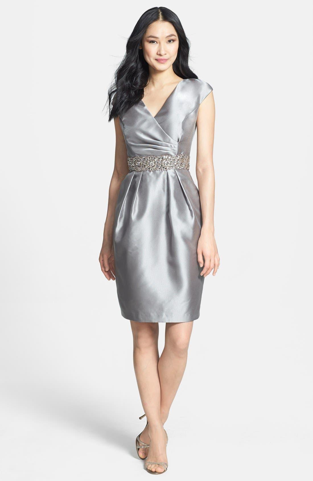 Alternate Image 3  - Alex Evenings Embellished Waist Taffeta Sheath Dress