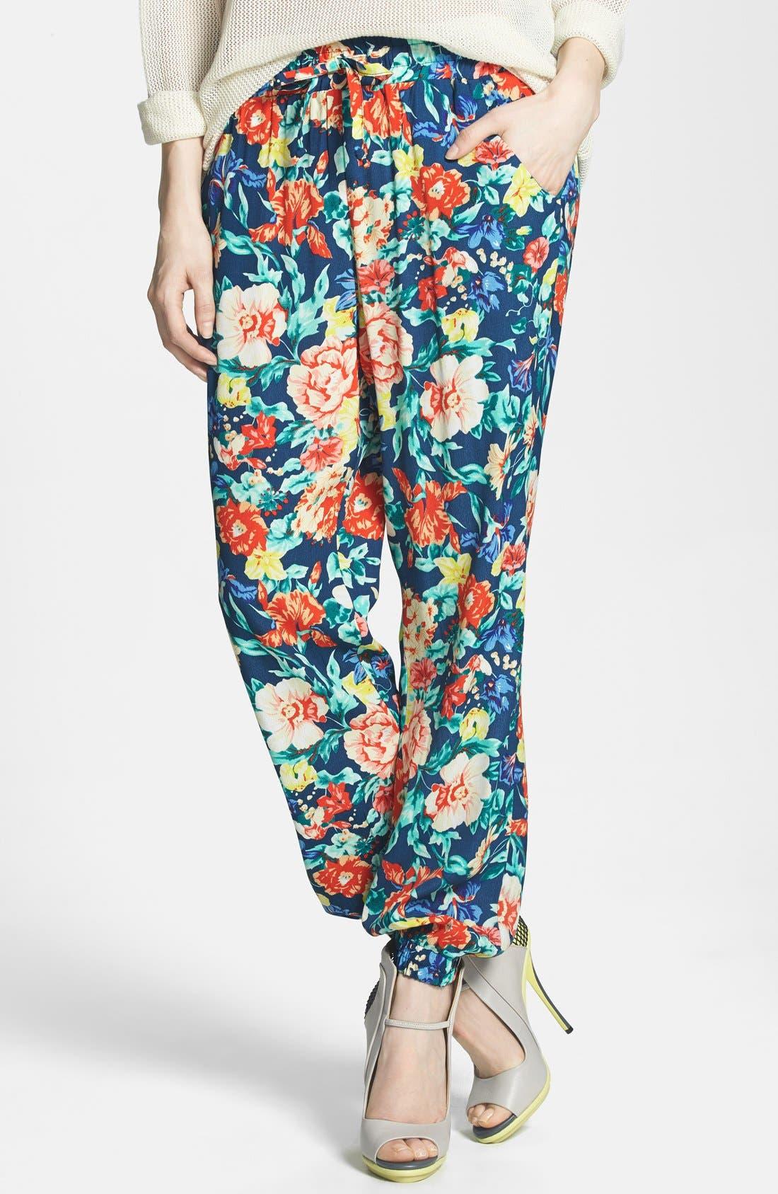 'Acid Bloom' Floral Print Jogger Pants,                             Main thumbnail 1, color,                             Multi